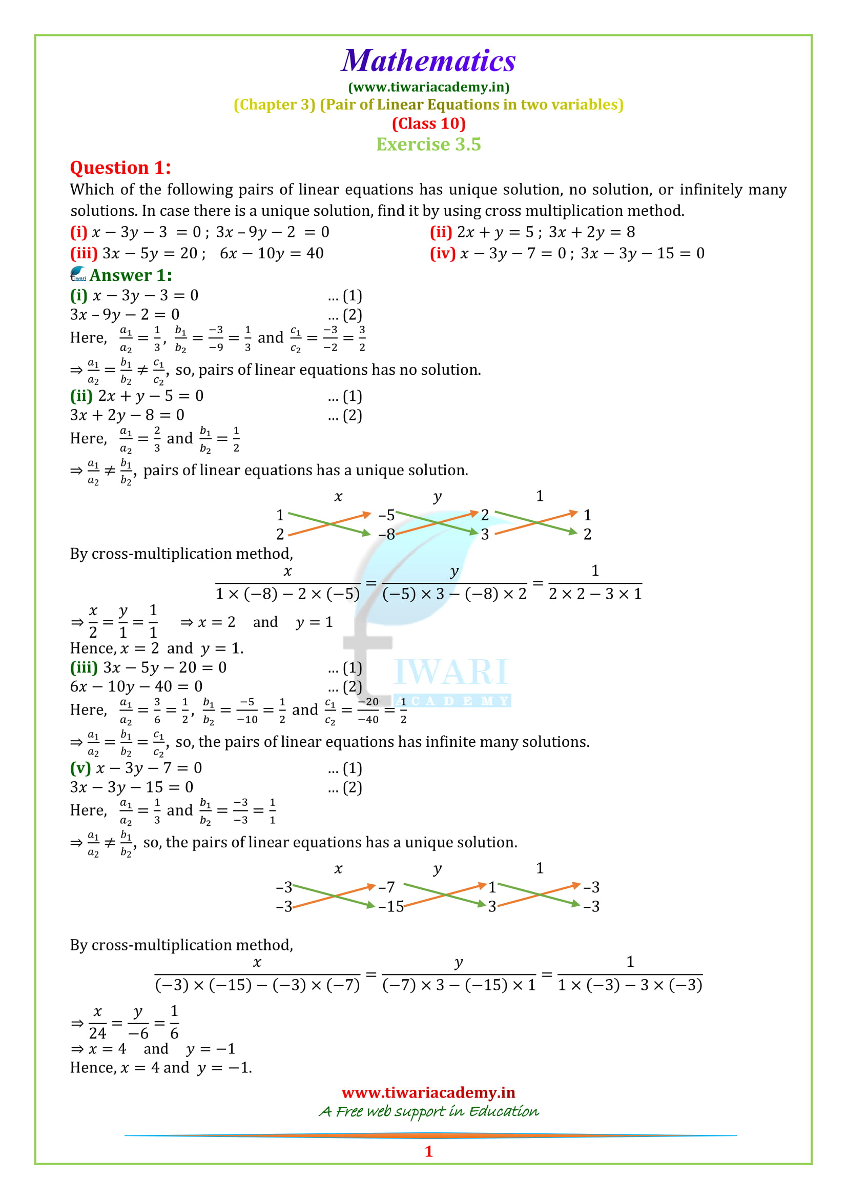 NCERT Solutions for Class 10 Maths Chapter 3 Exercise 3.5 question 1