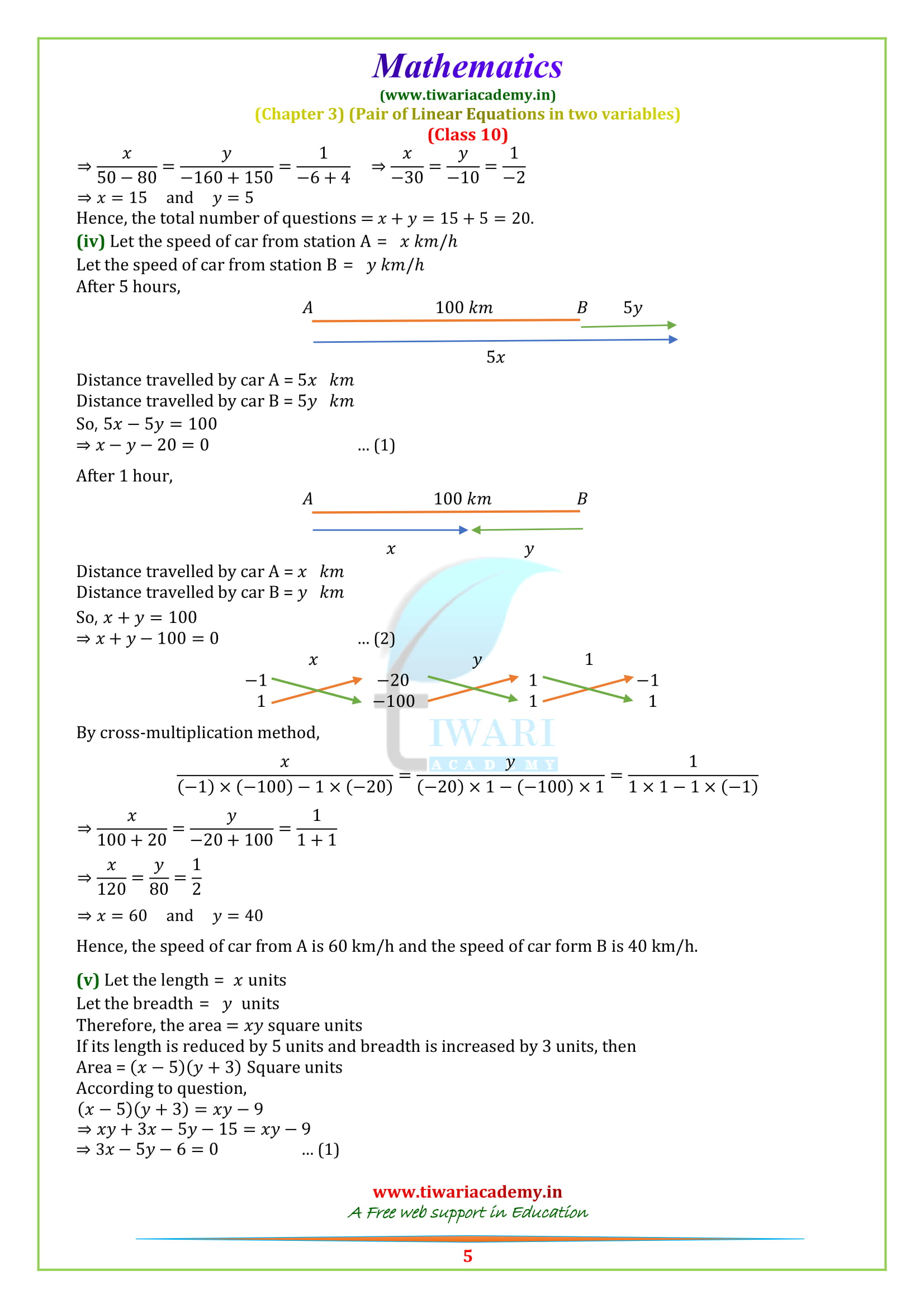 NCERT Solutions for Class 10 Maths Chapter 3 Exercise 3.5 updated for 2018-19.
