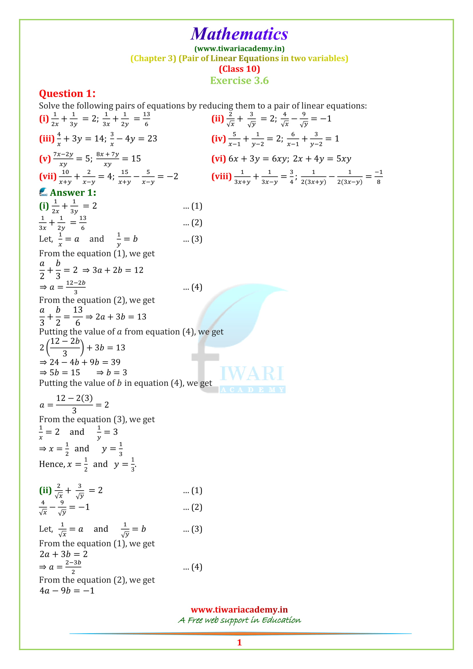 NCERT Solutions for Class 10 Maths Chapter 3 Exercise 3 6 Online