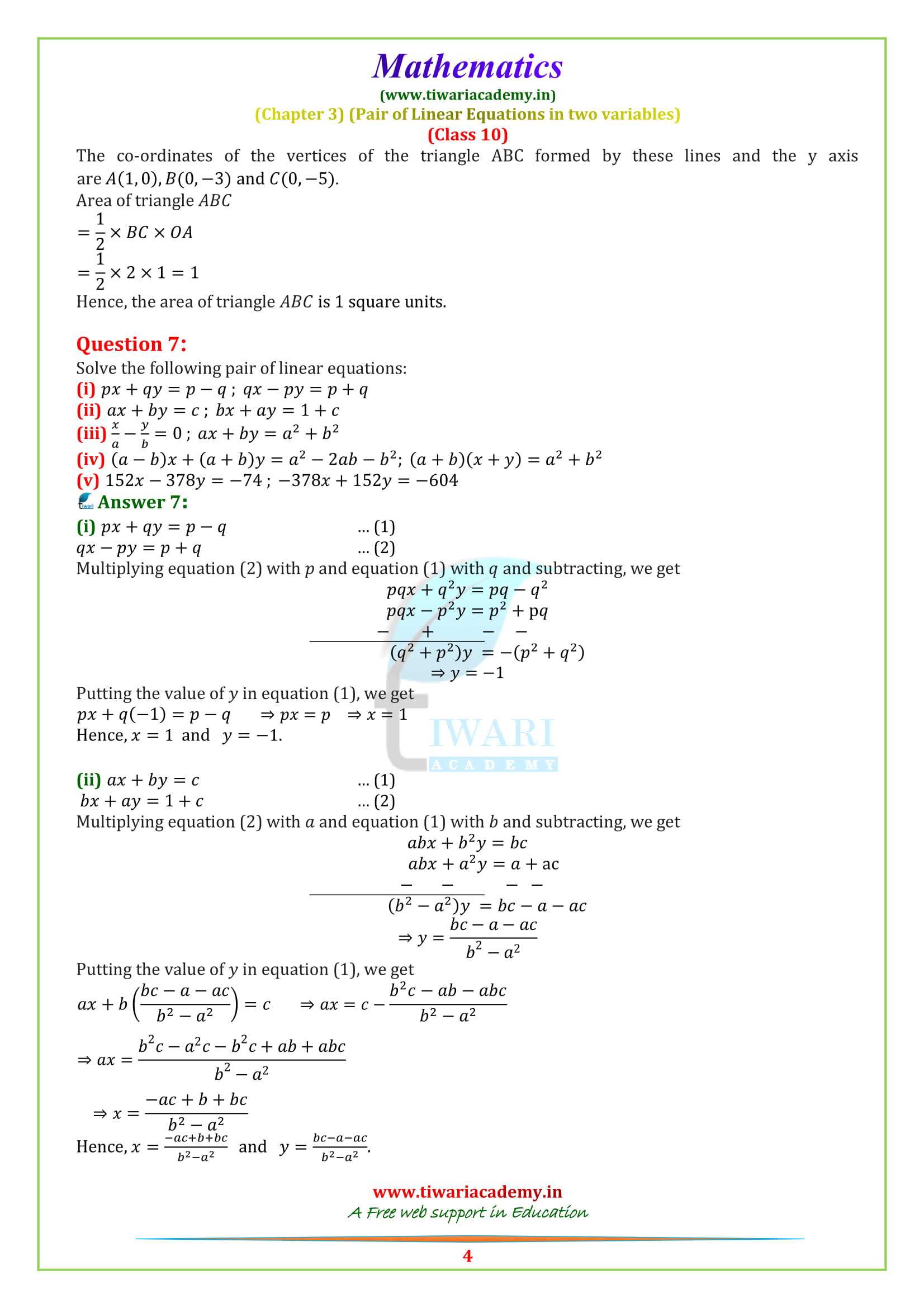 10 Maths optional exercise 3.7 solutions question 4, 5, 6, 7
