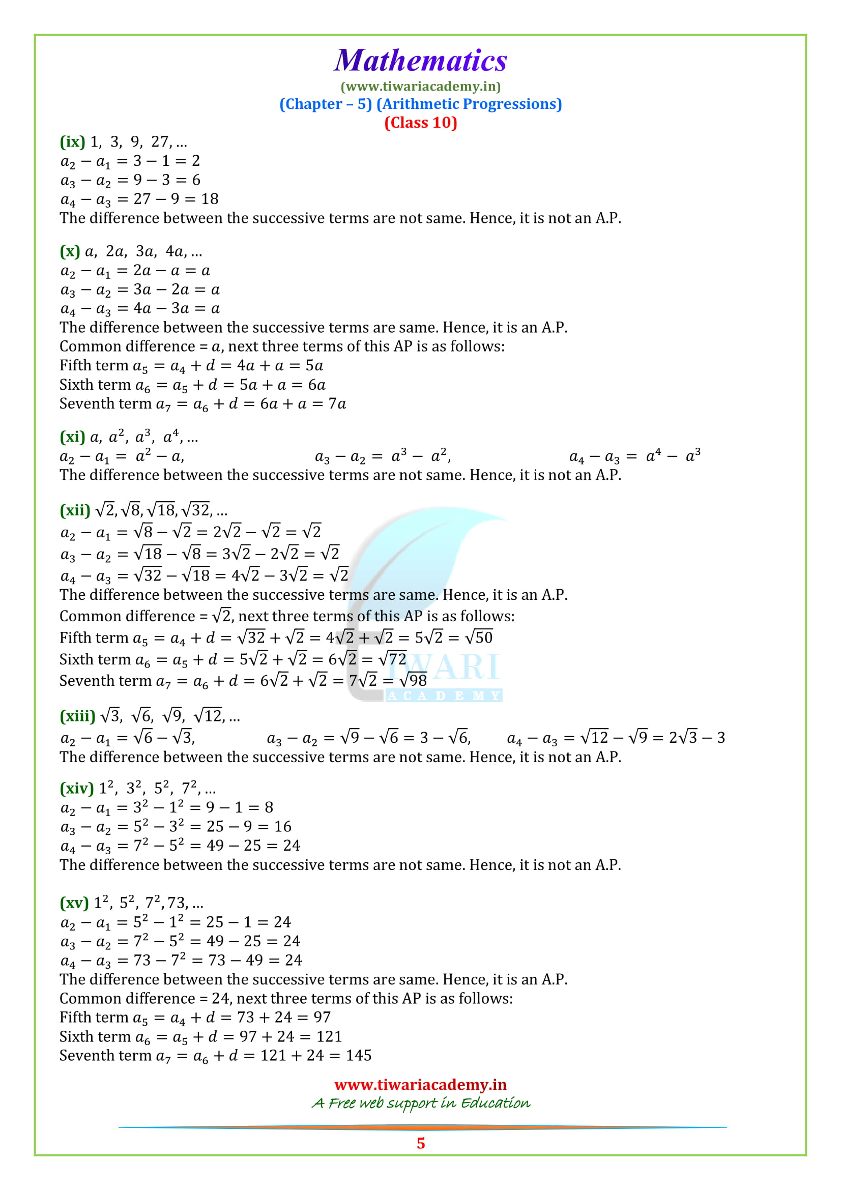 NCERT Solutions for Class 10 Maths Exercise 5.1 updated for session 2018-19.