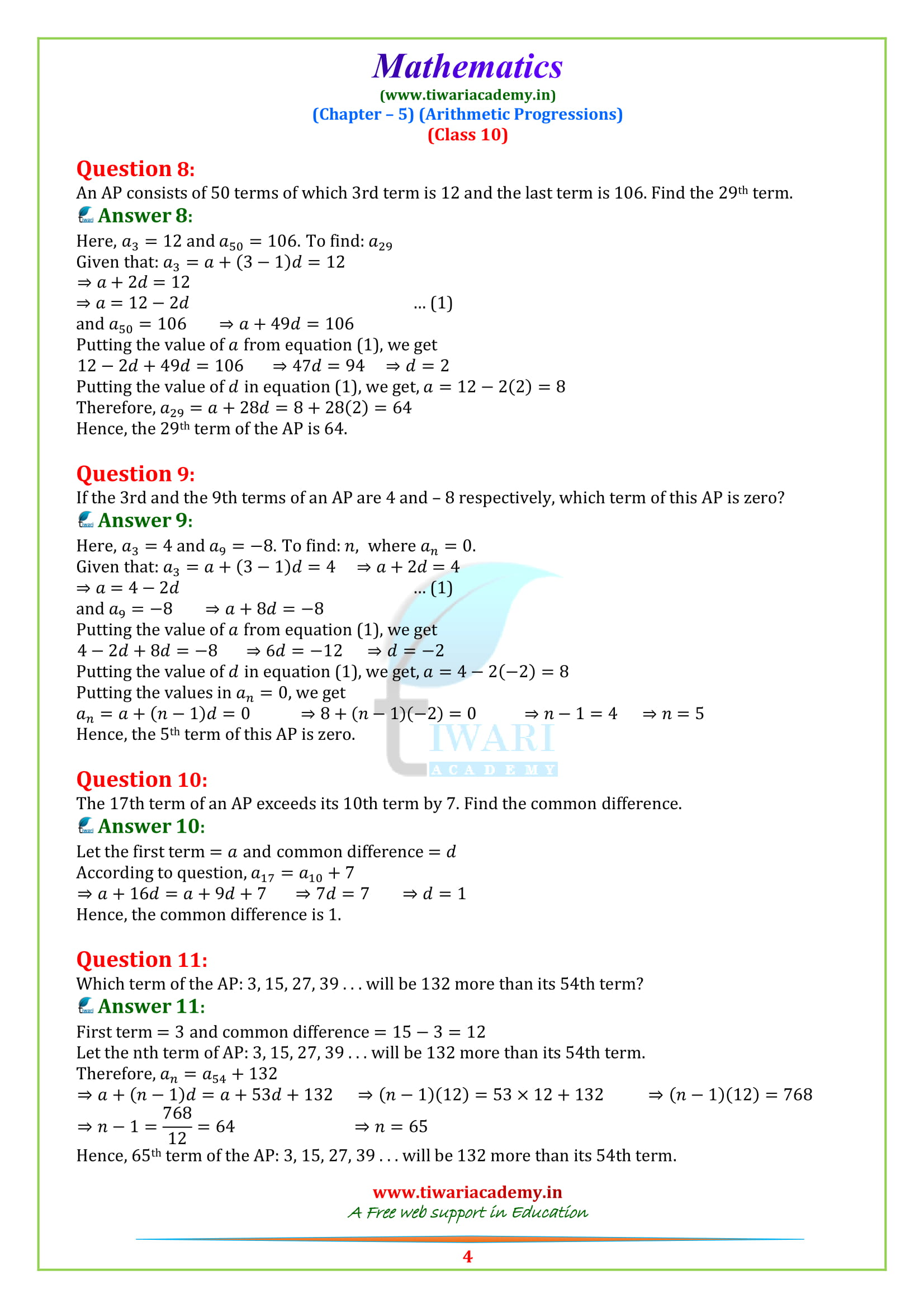 NCERT Solutions for class 10 Maths Exercise 5.2 in english medium pdf