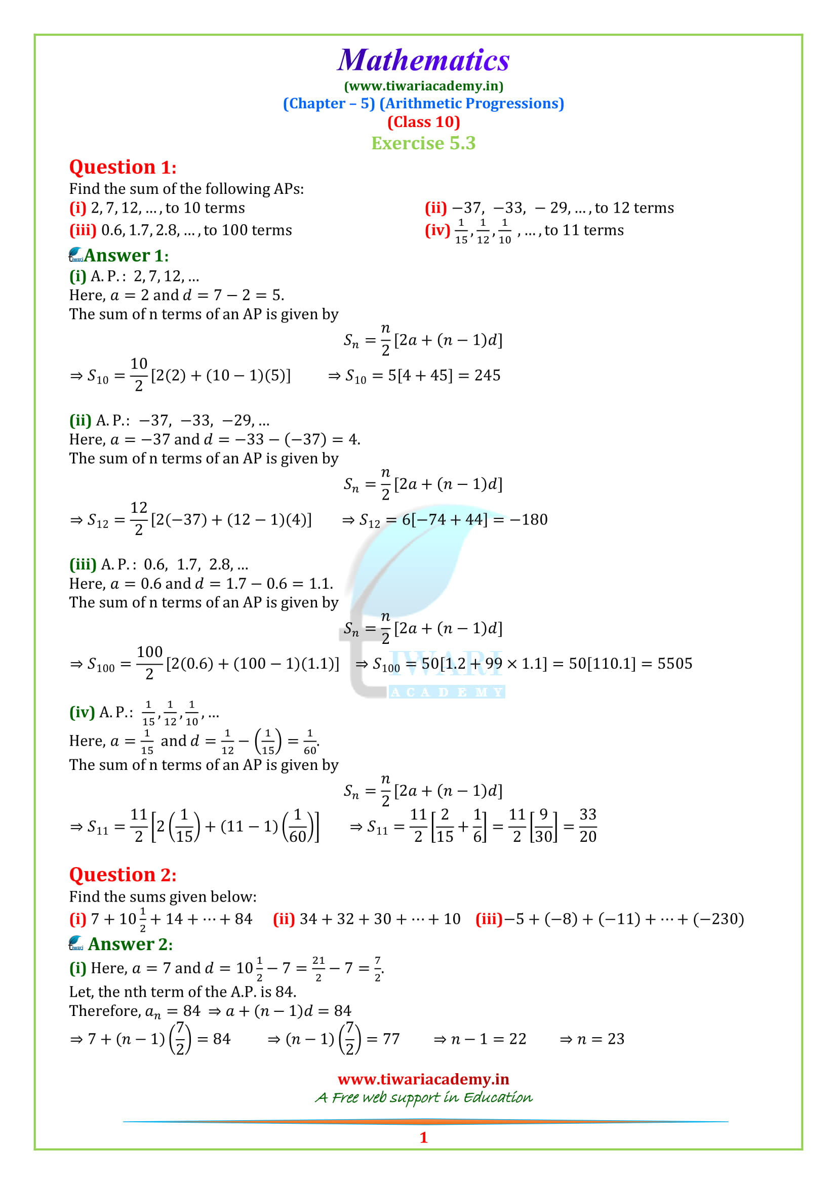 10 Maths Exercise 5.3 in English Medium