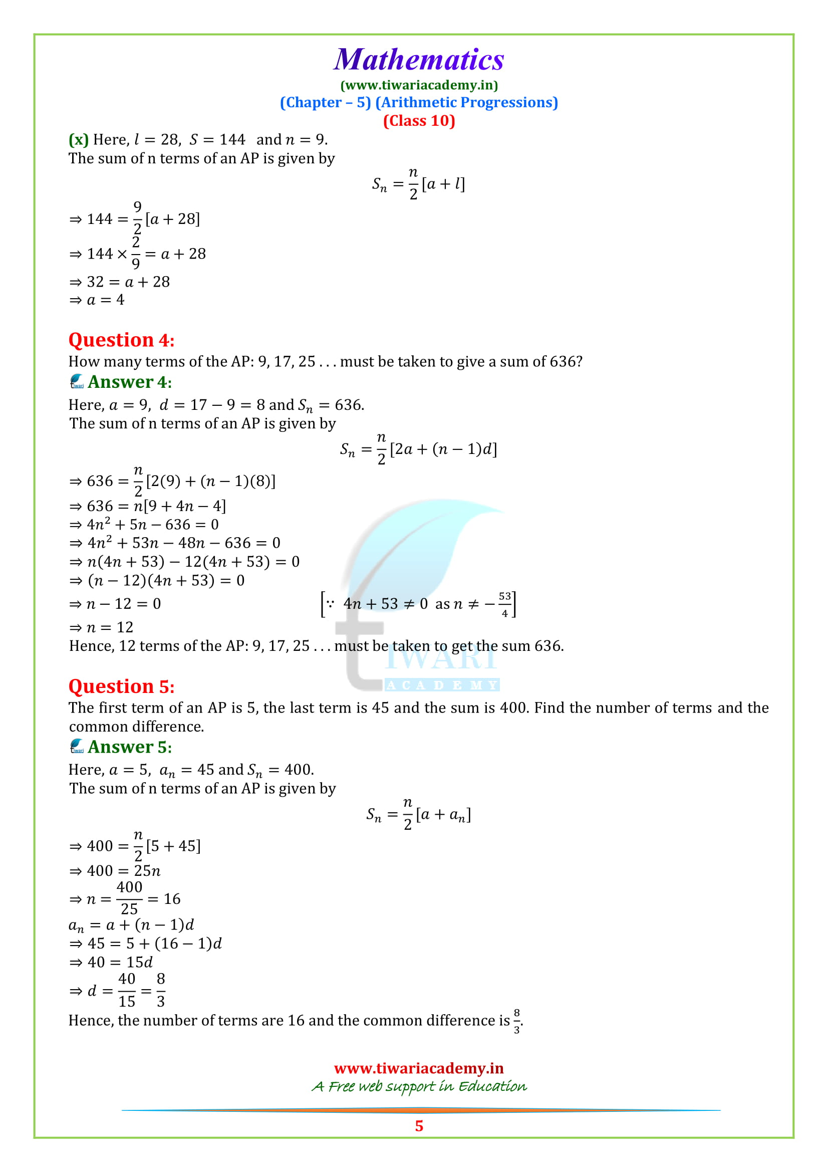 NCERT Sols for class 10 Maths exercise 5.3 in English medium