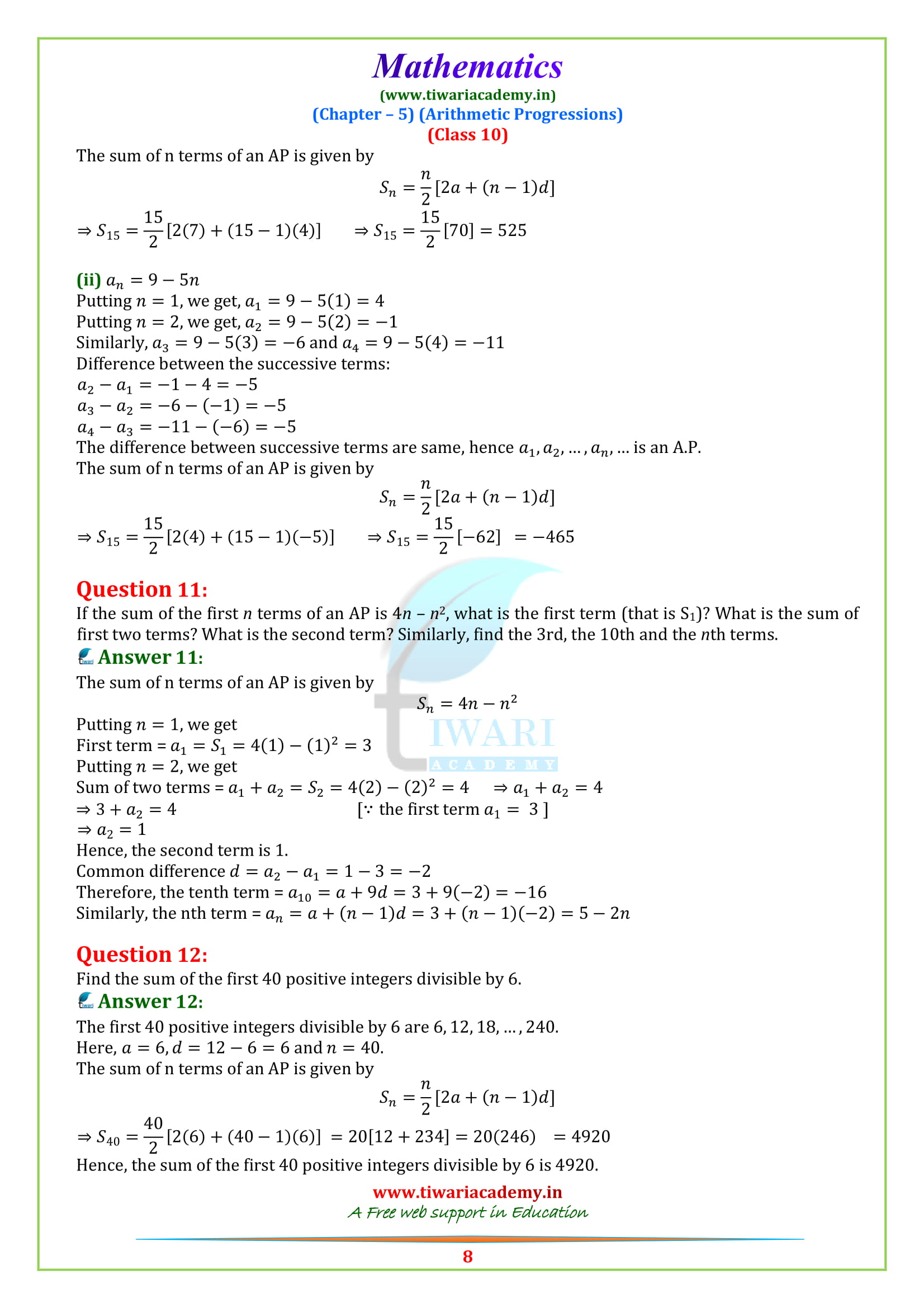 NCERT Sols for class 10 Maths exercise 5.3 in PDF