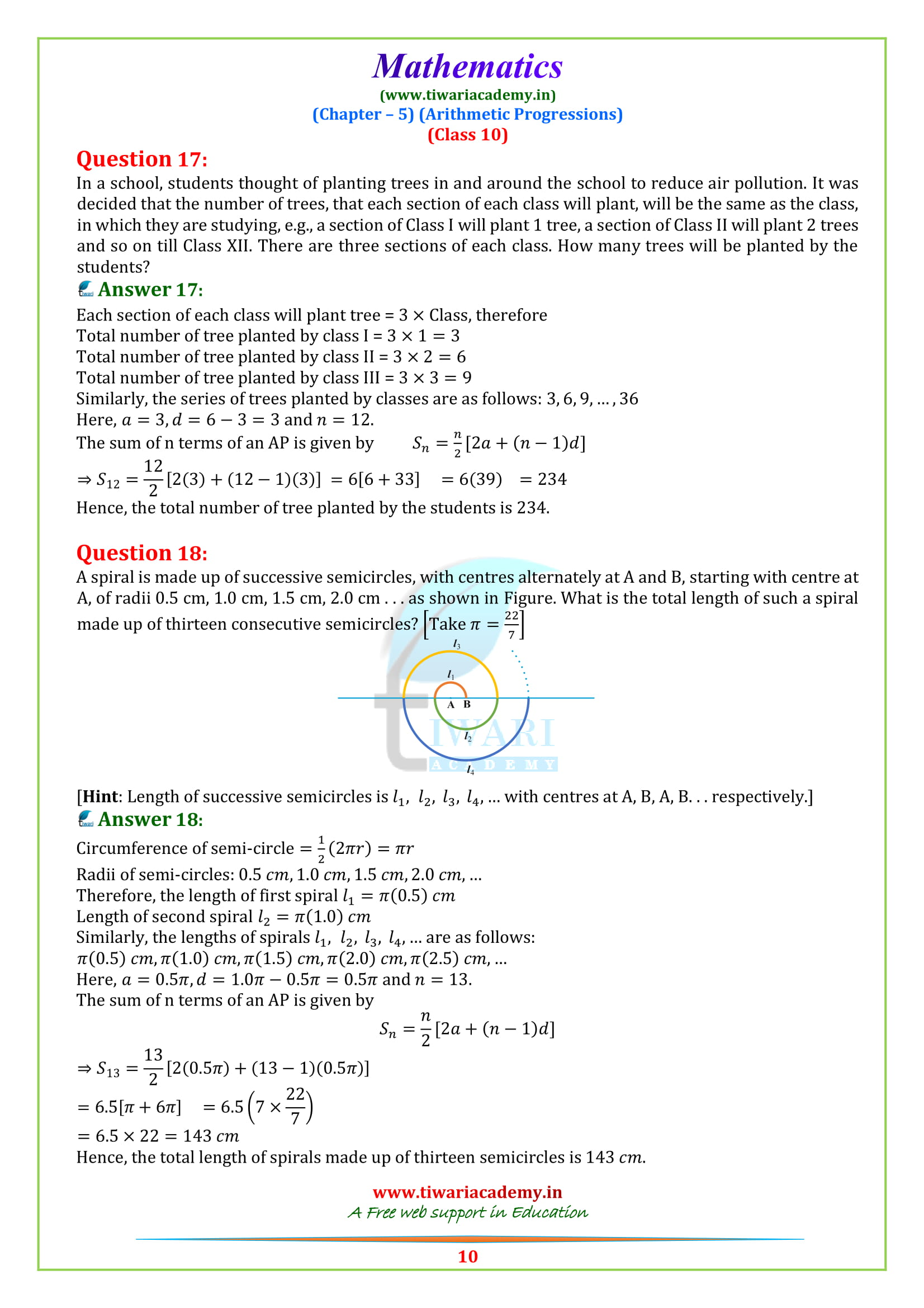 NCERT Sols for class 10 Maths exercise 5.3 for high school up board