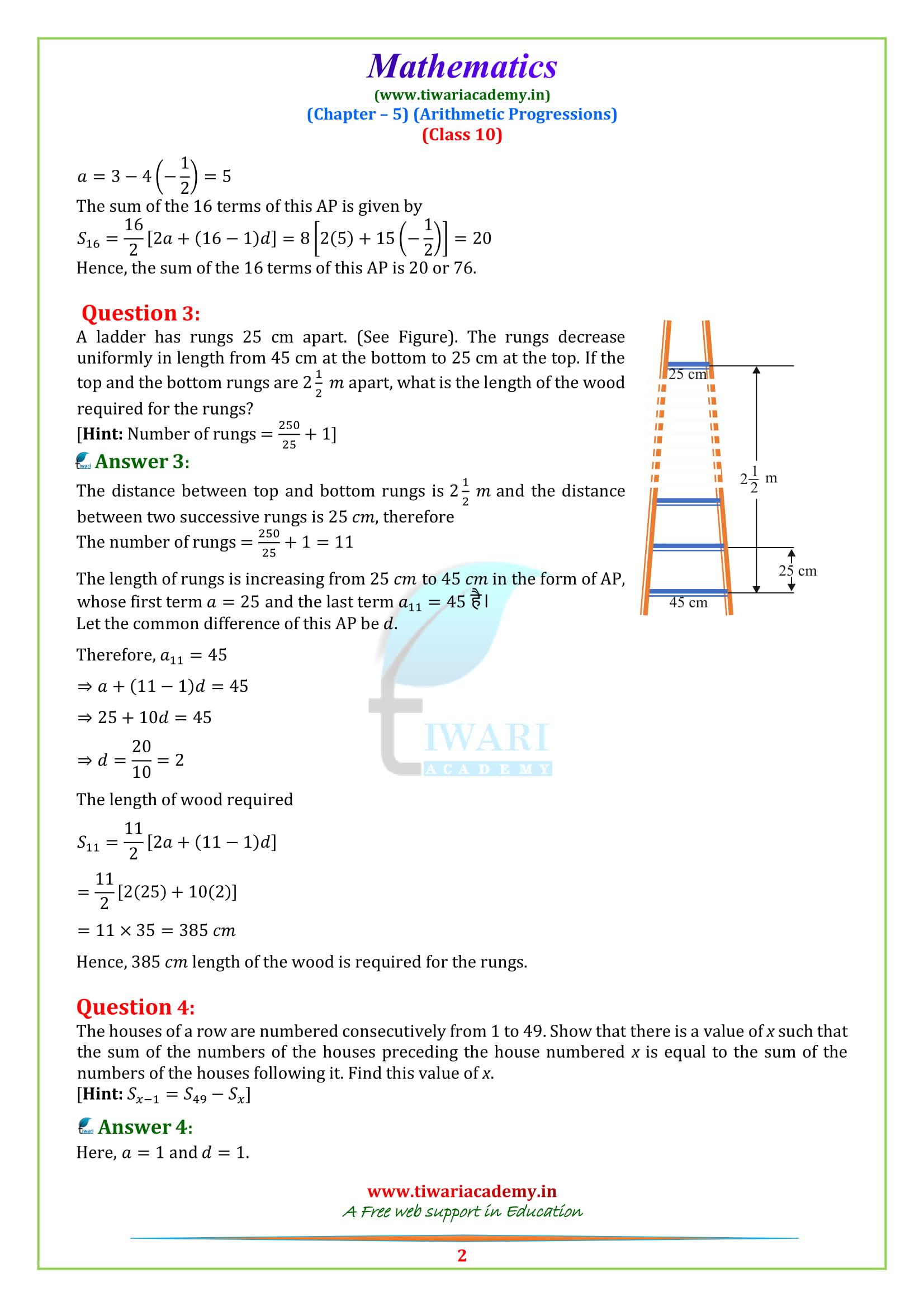 NCERT Solutions for class 10 maths Exercise 5.4 updated for 2018-19.