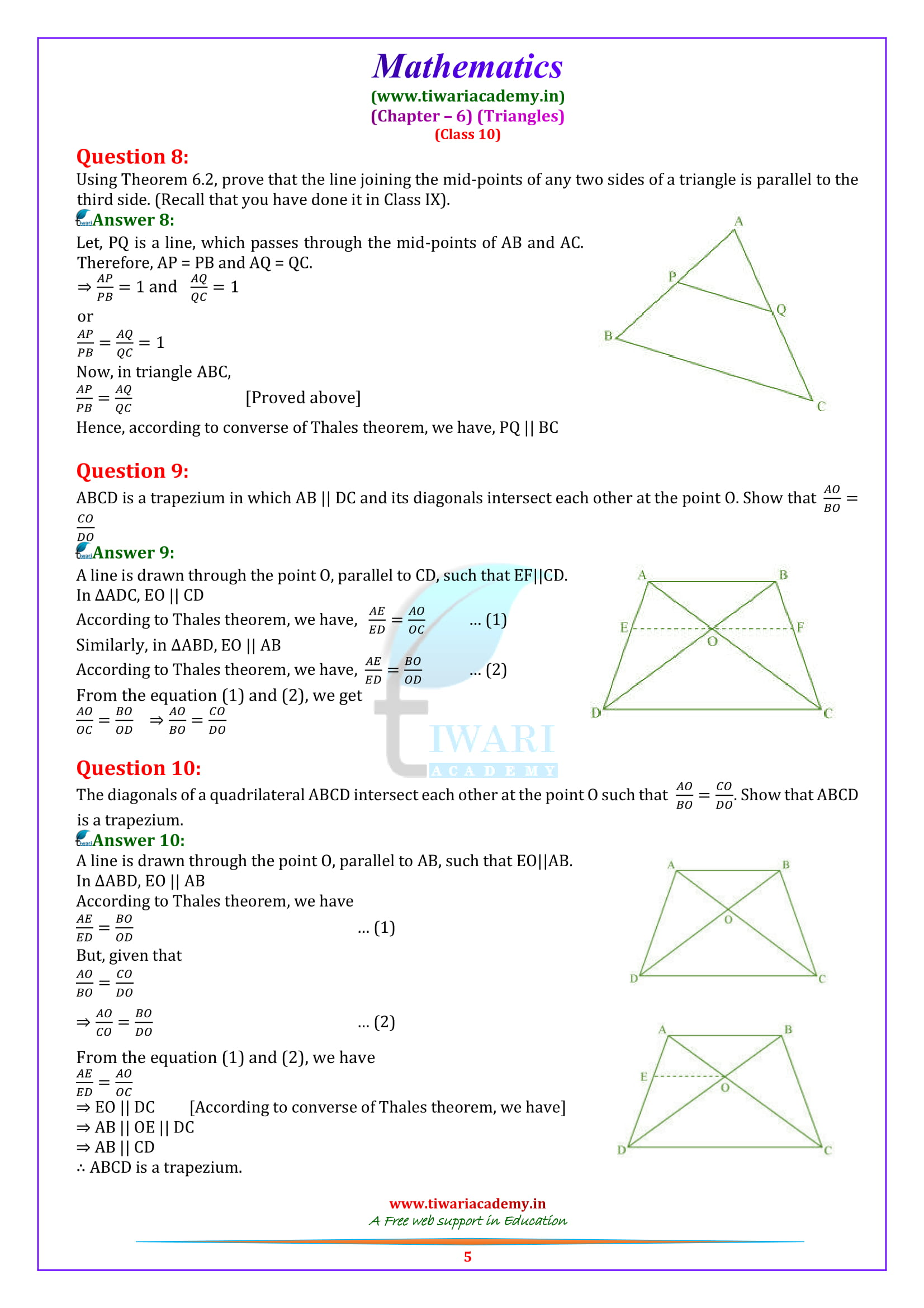 10 Maths Exercise 6.2 Solutions for up board