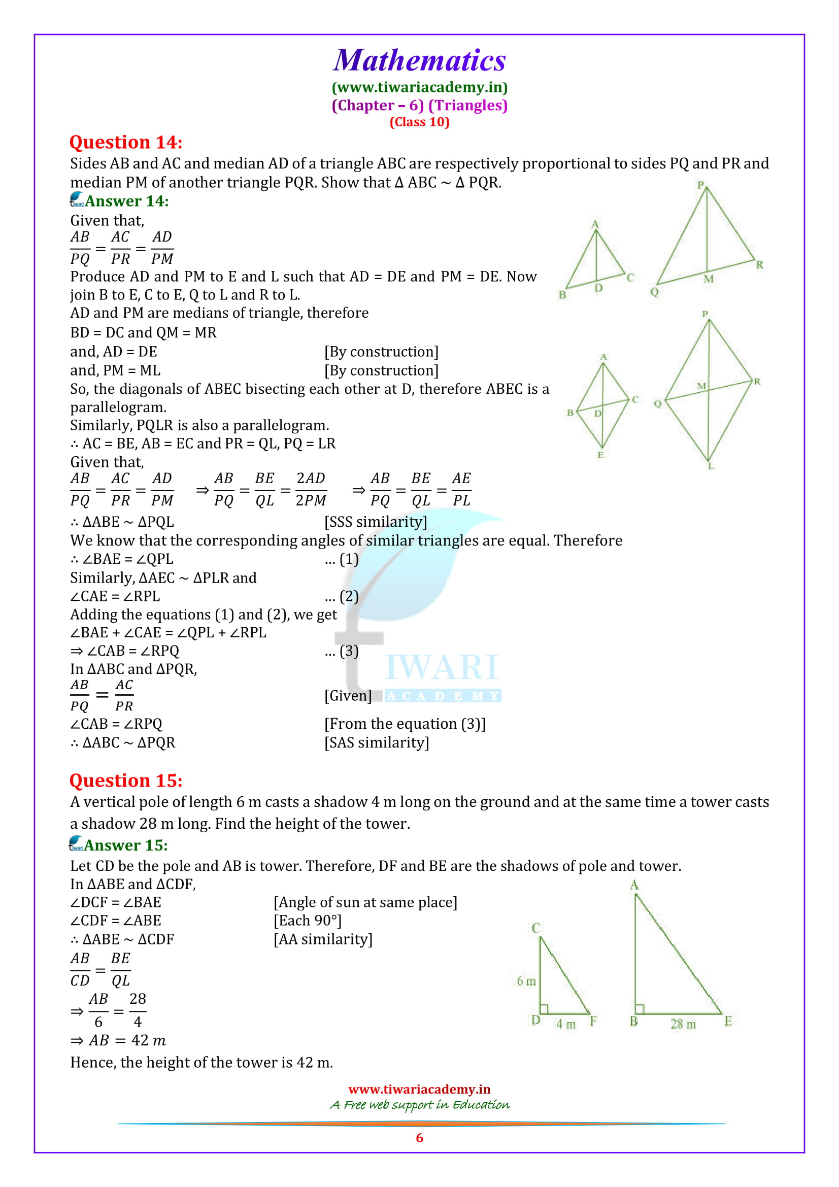 10 Maths Exercise 6.3 Solutions free to download