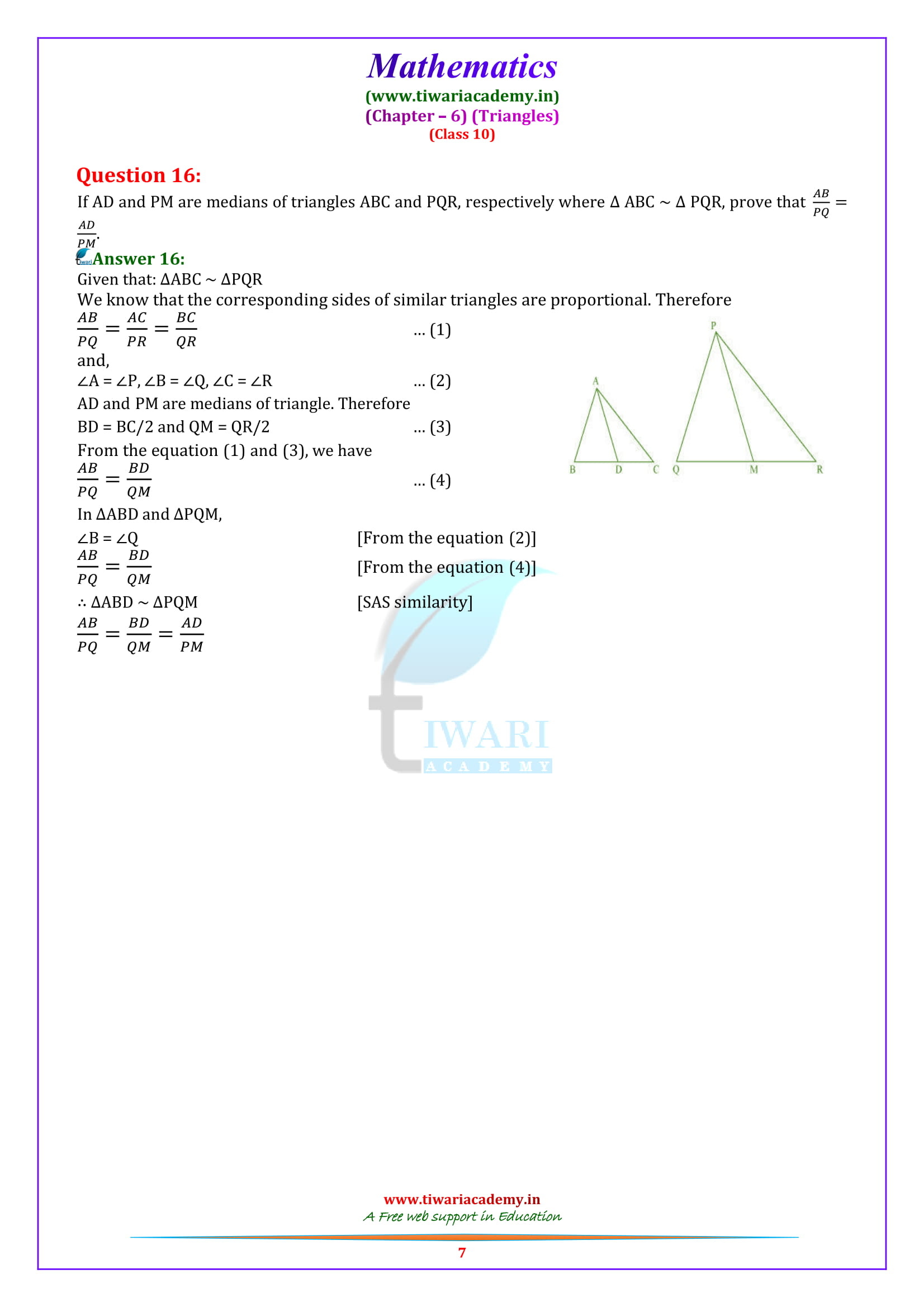 10 Maths Exercise 6.3 Solutions free for all