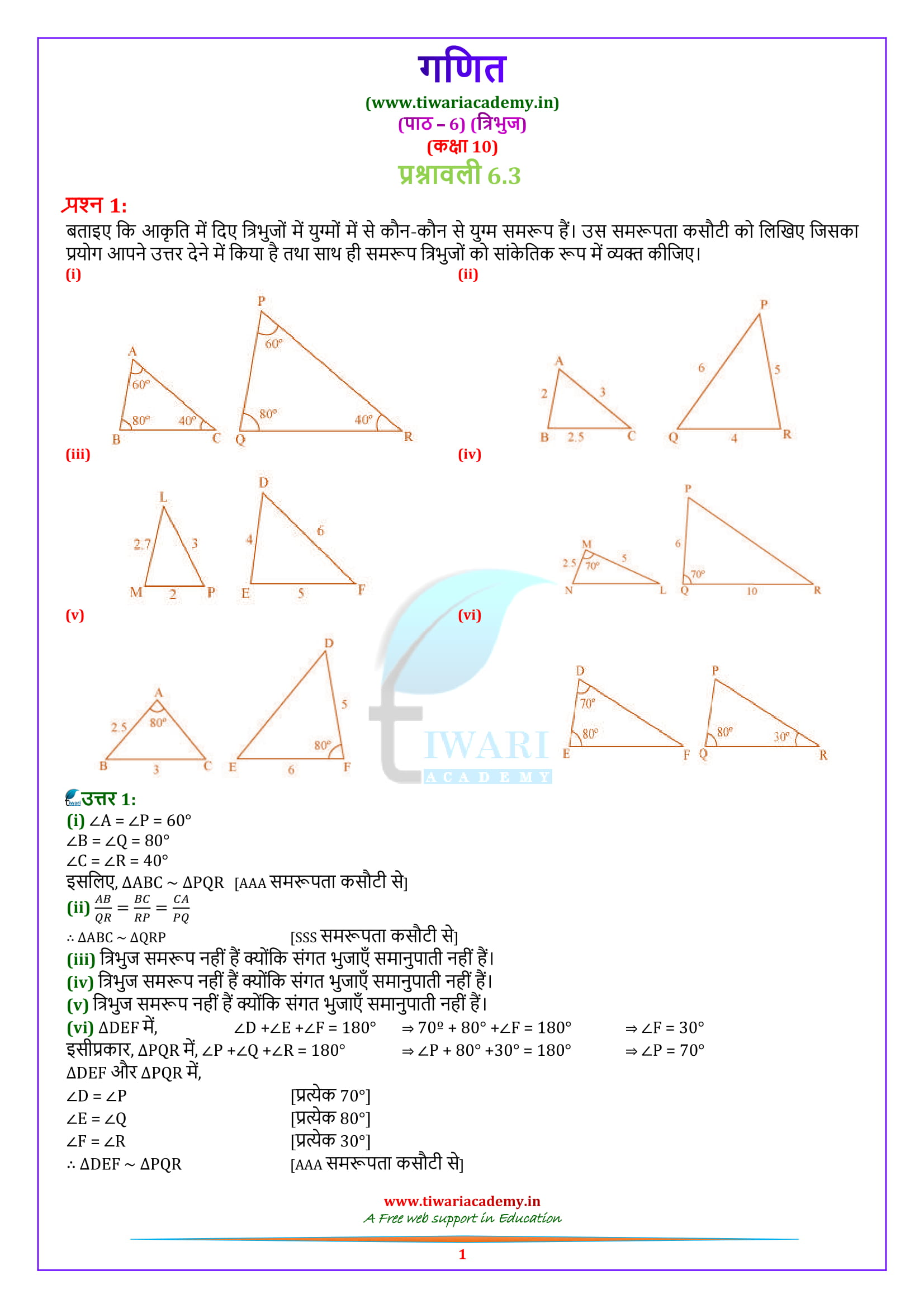 10 Maths Exercise 6.3 in hindi medium