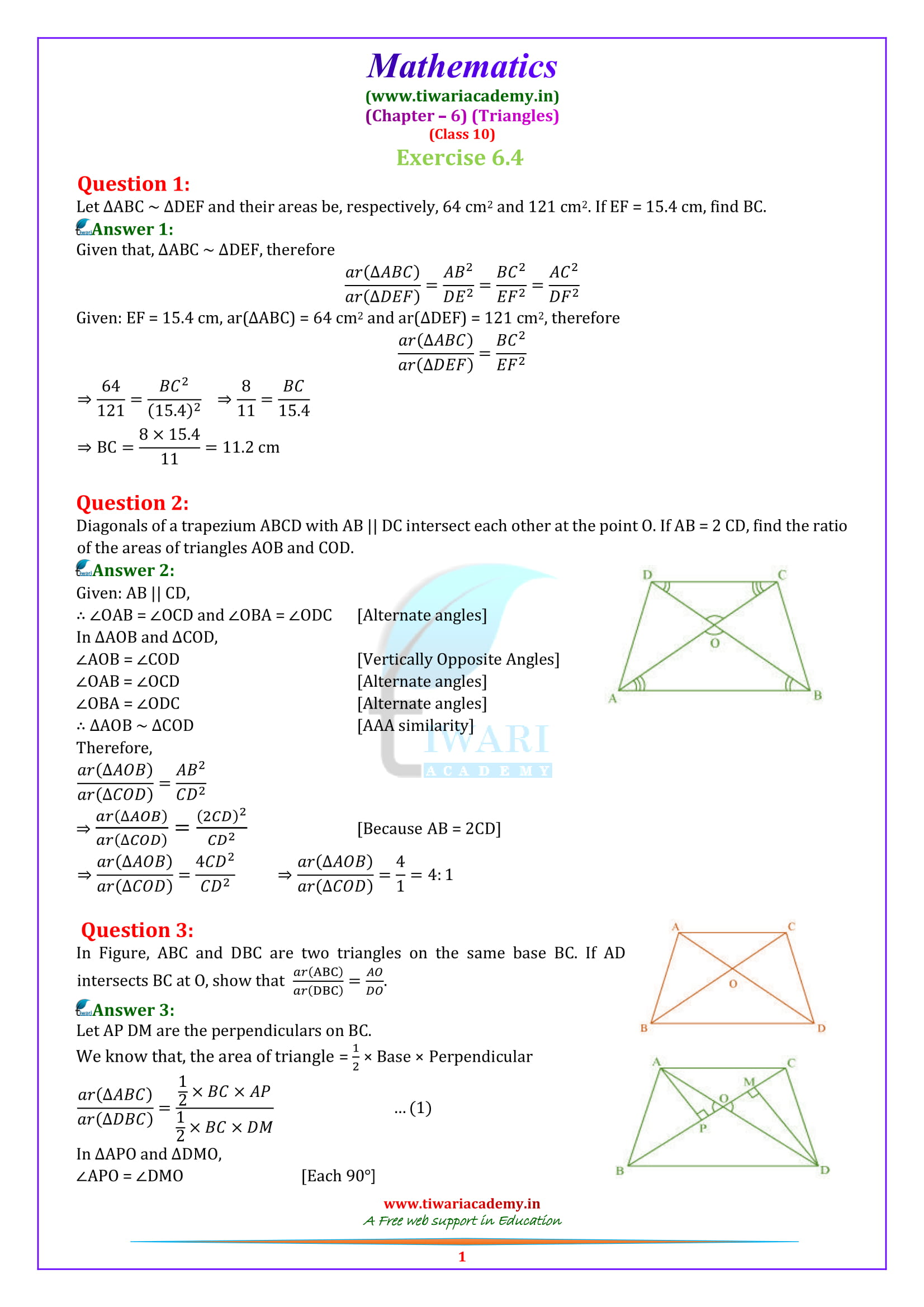 10 Maths Exercise 6.4 solutions in english medium