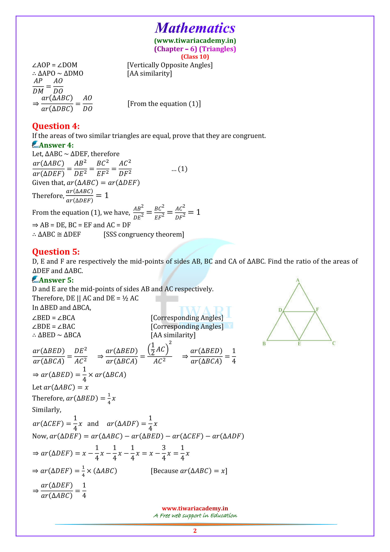 10 Maths Exercise 6.4 solutions updated for 2018-19.
