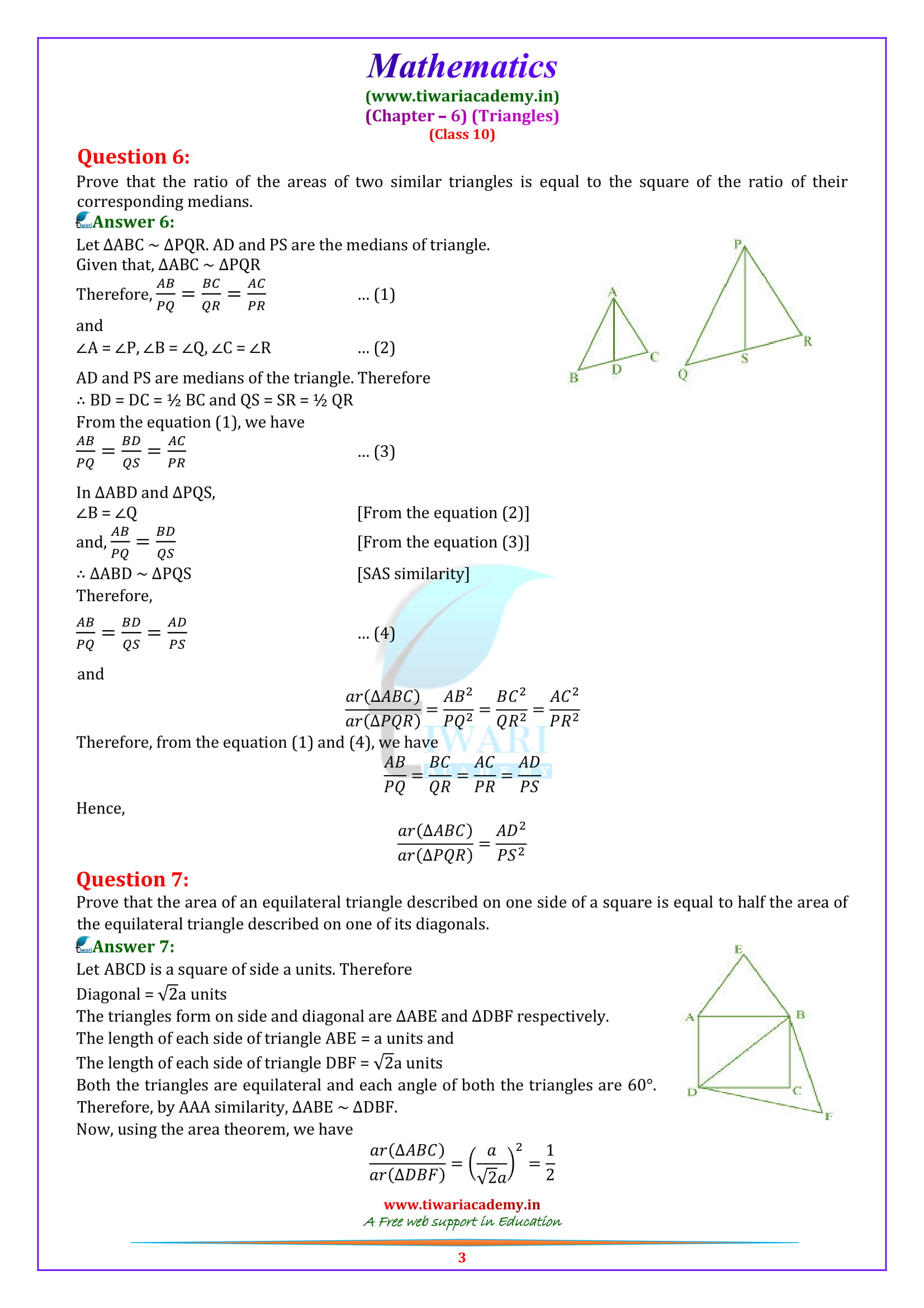 10 Maths Exercise 6.4 solutions for up board high school