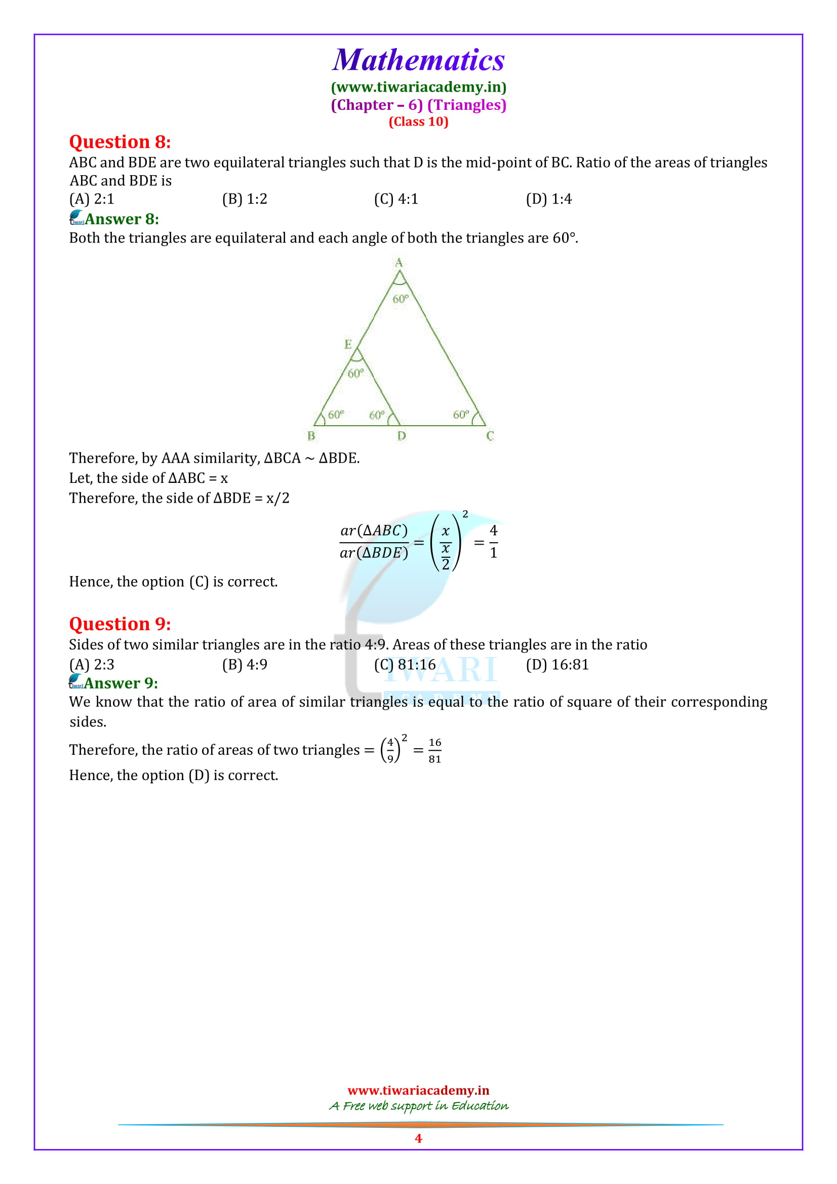 10 Maths Exercise 6.4 solutions free to download as pdf
