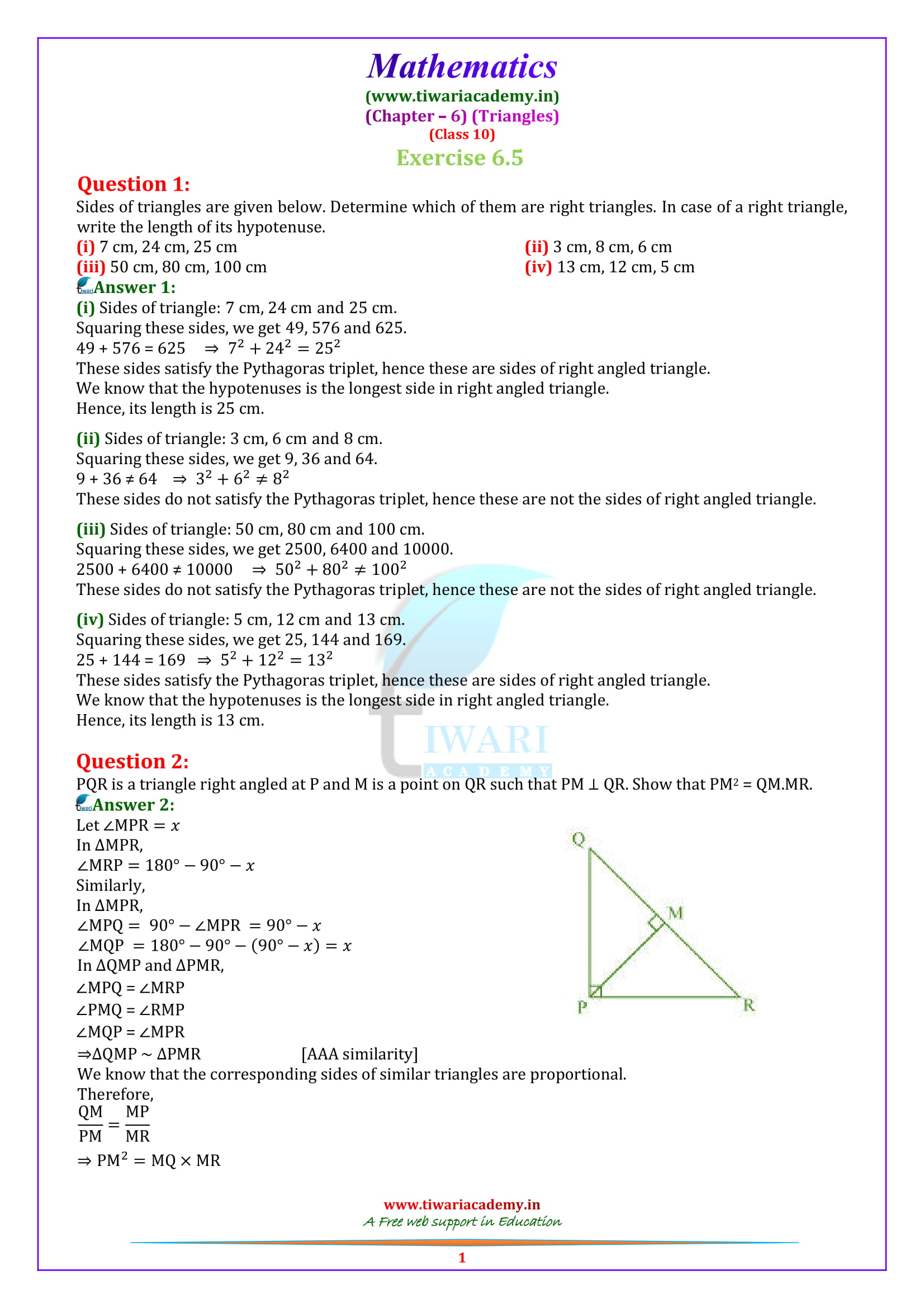 10 Maths Exercise 6.5 solutions in einglish medium