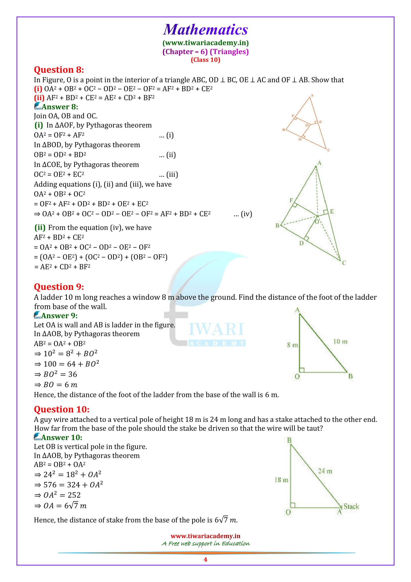 10 Maths Exercise 6.5 solutions all questions answers