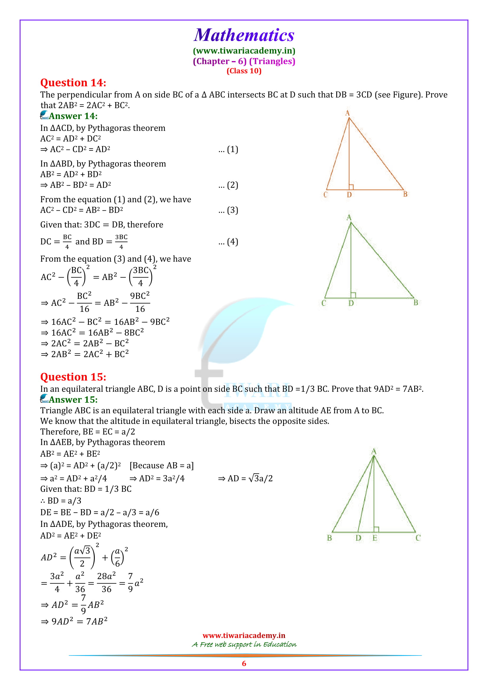 10 Maths Exercise 6.5 solutions in pdf download