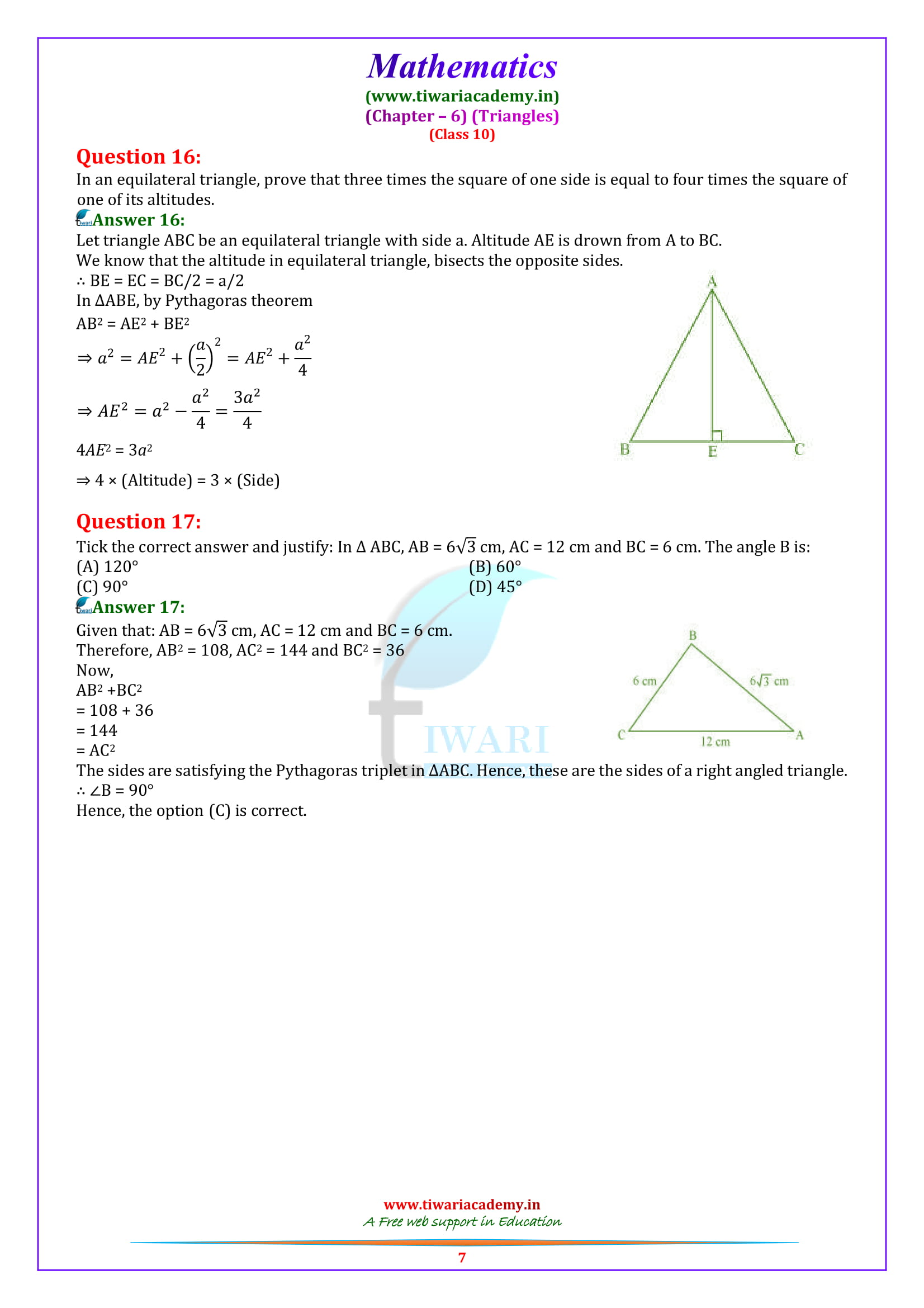 Class 10 Maths Exercise 6.5 solutions
