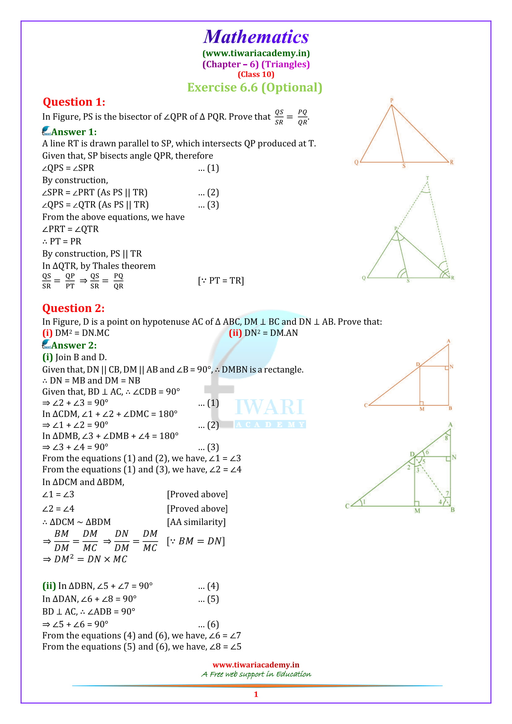 10 Maths optional Exercise 6.6 in English medium solutions