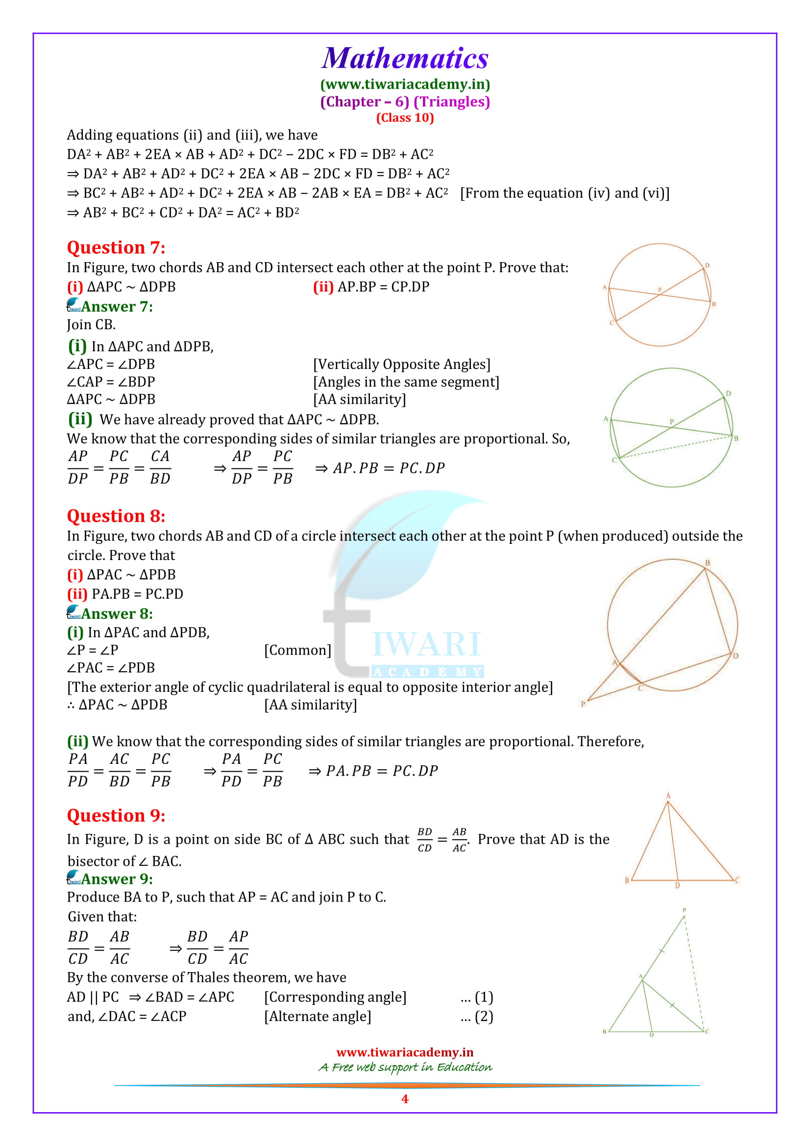 10 Maths optional Exercise 6.6 in English medium free to download in pdf