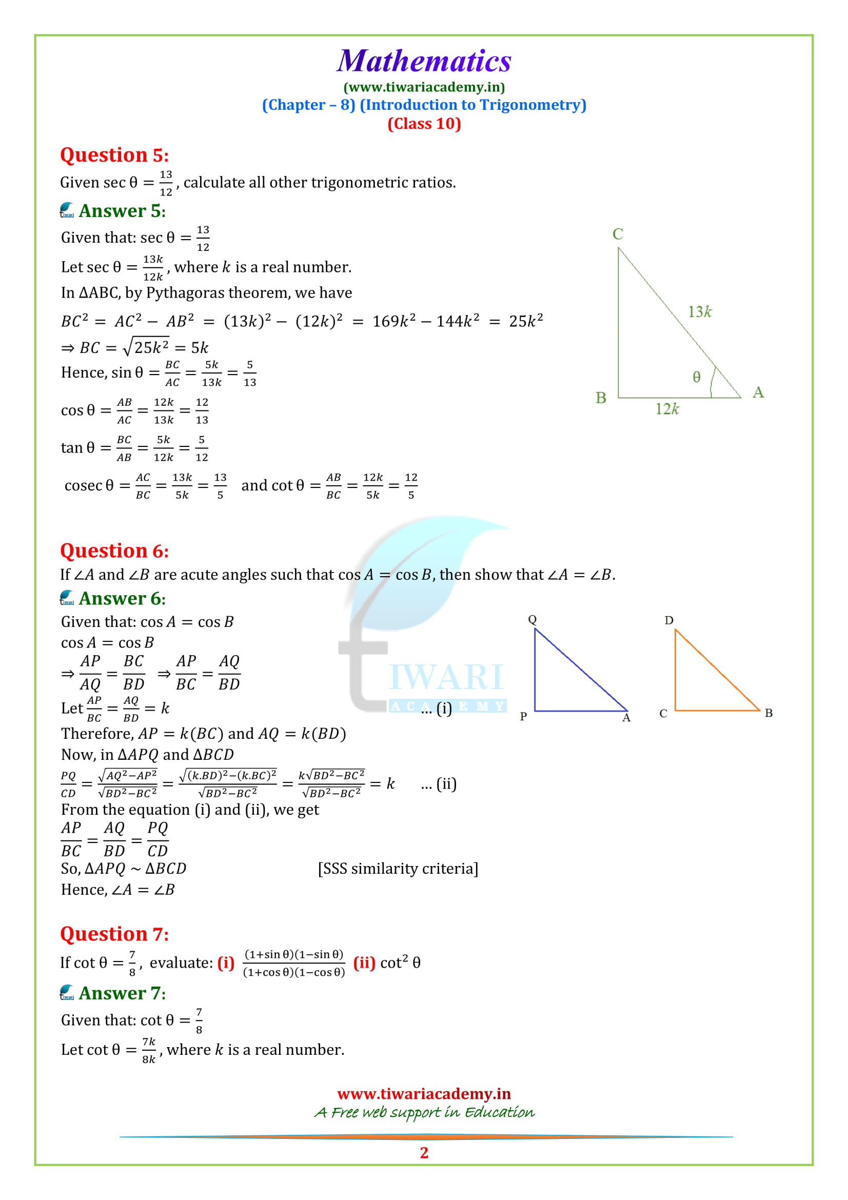 NCERT Solutions for class 10 Maths Chapter 8 Exercise 8.1 updated for 2018-19.