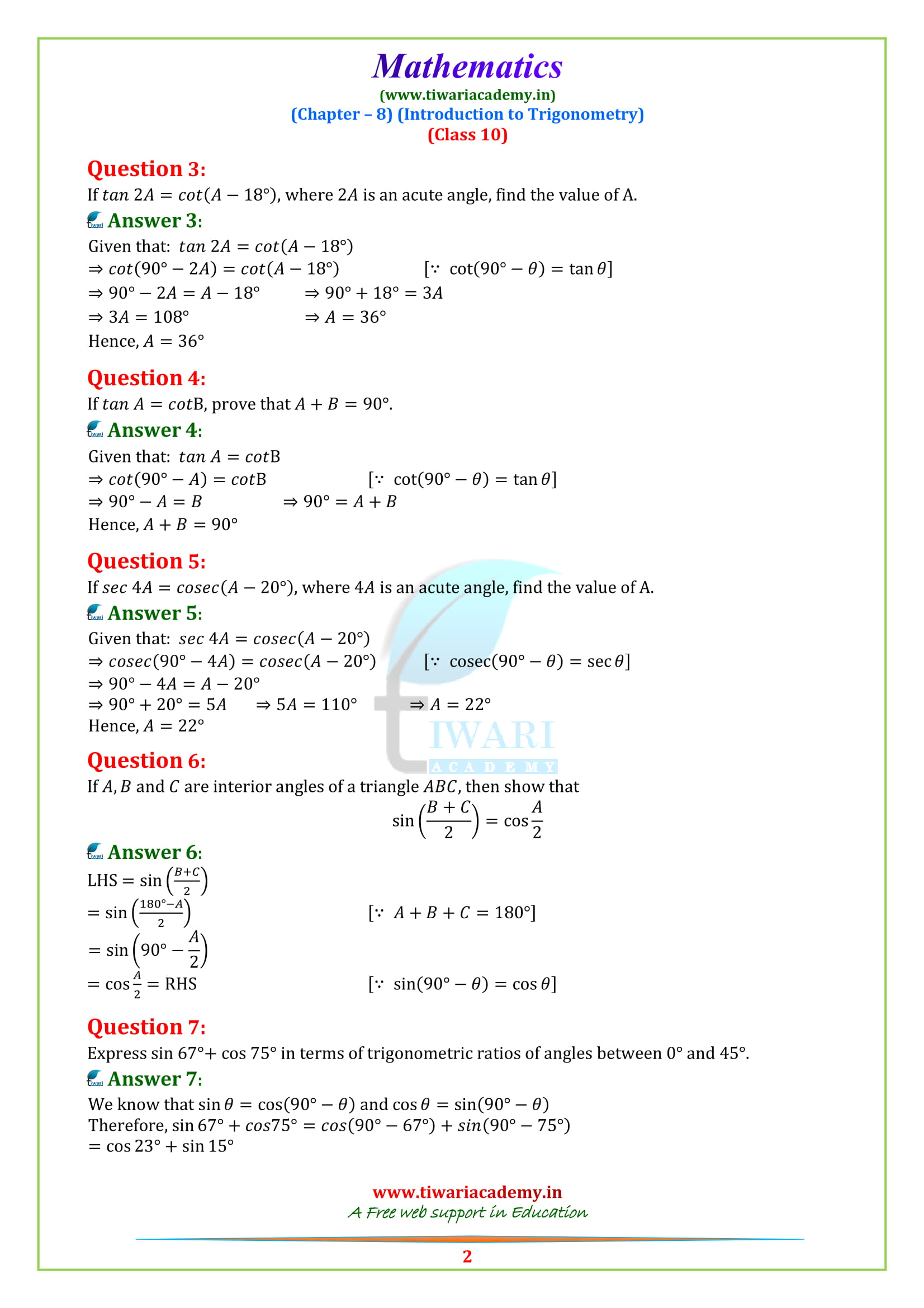 NCERT Solutions for class 10 Maths Chapter 8 Exercise 8.3 updated for 2018-19 in pdf