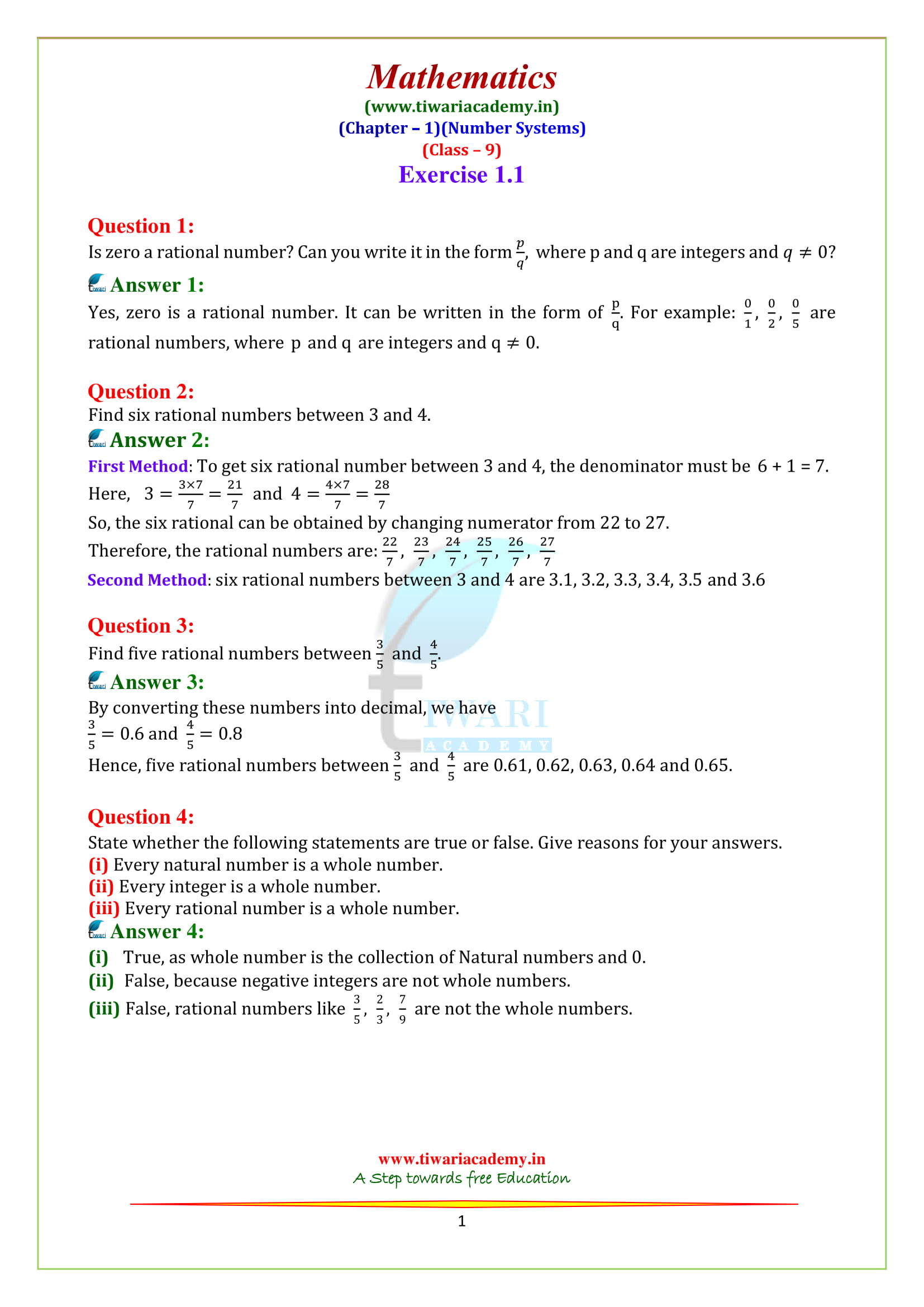 NCERT Solutions for Class 9 Maths Chapter 1 Exercise 1.1