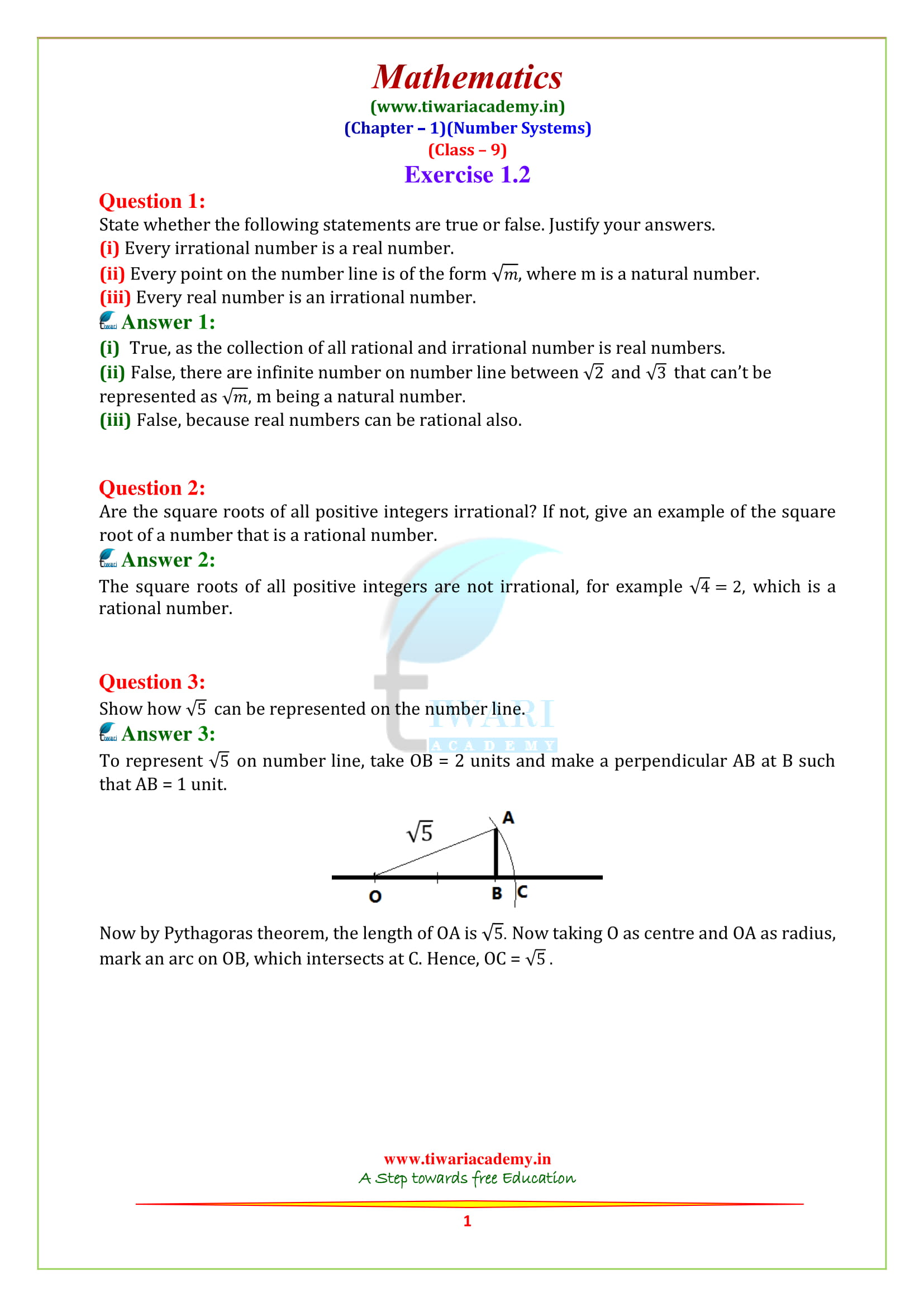 NCERT Solutions for Class 9 Maths Chapter 1 Exercise 1.2