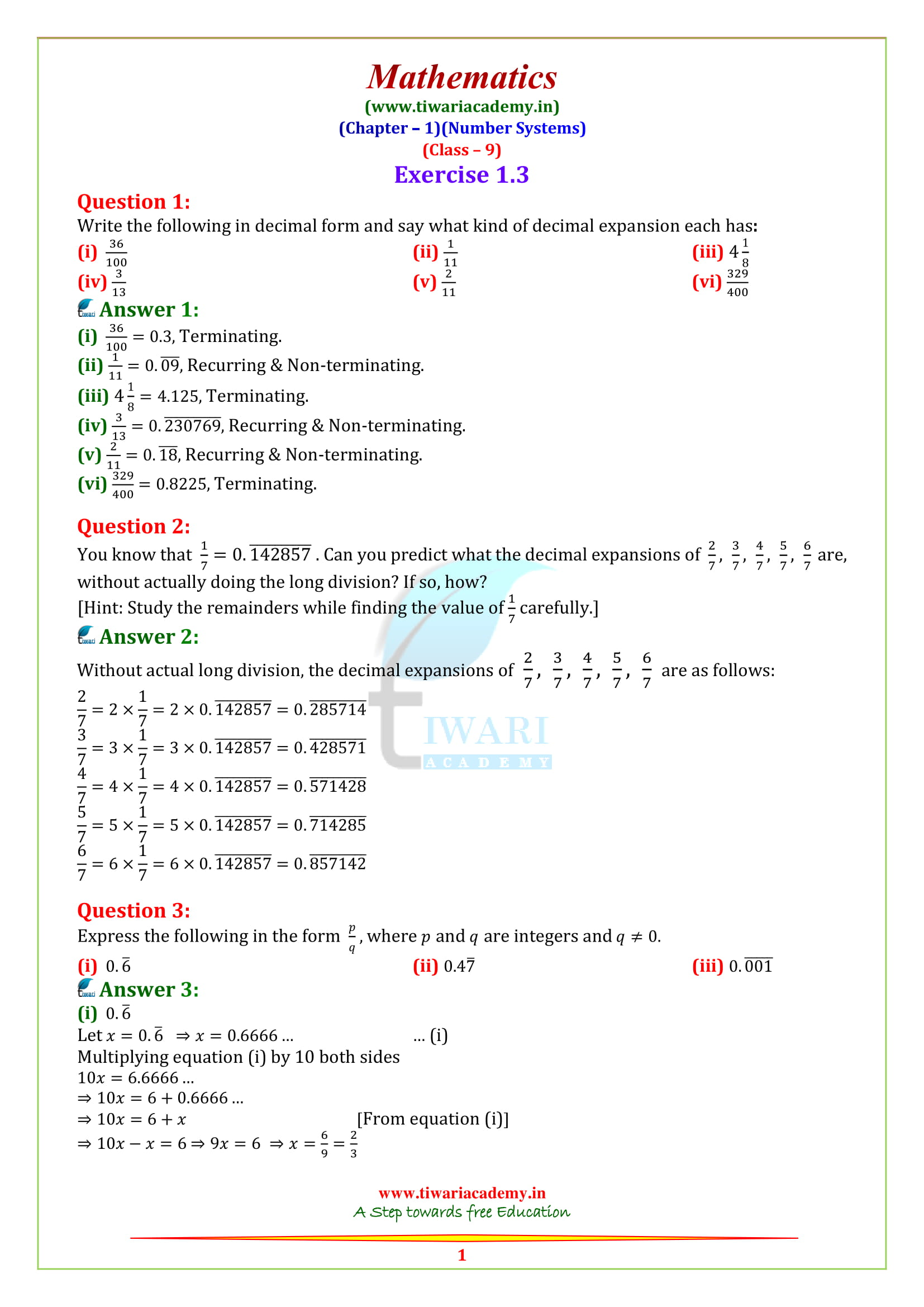 9th class math solution chapter 1 exercise 1.3 in hindi