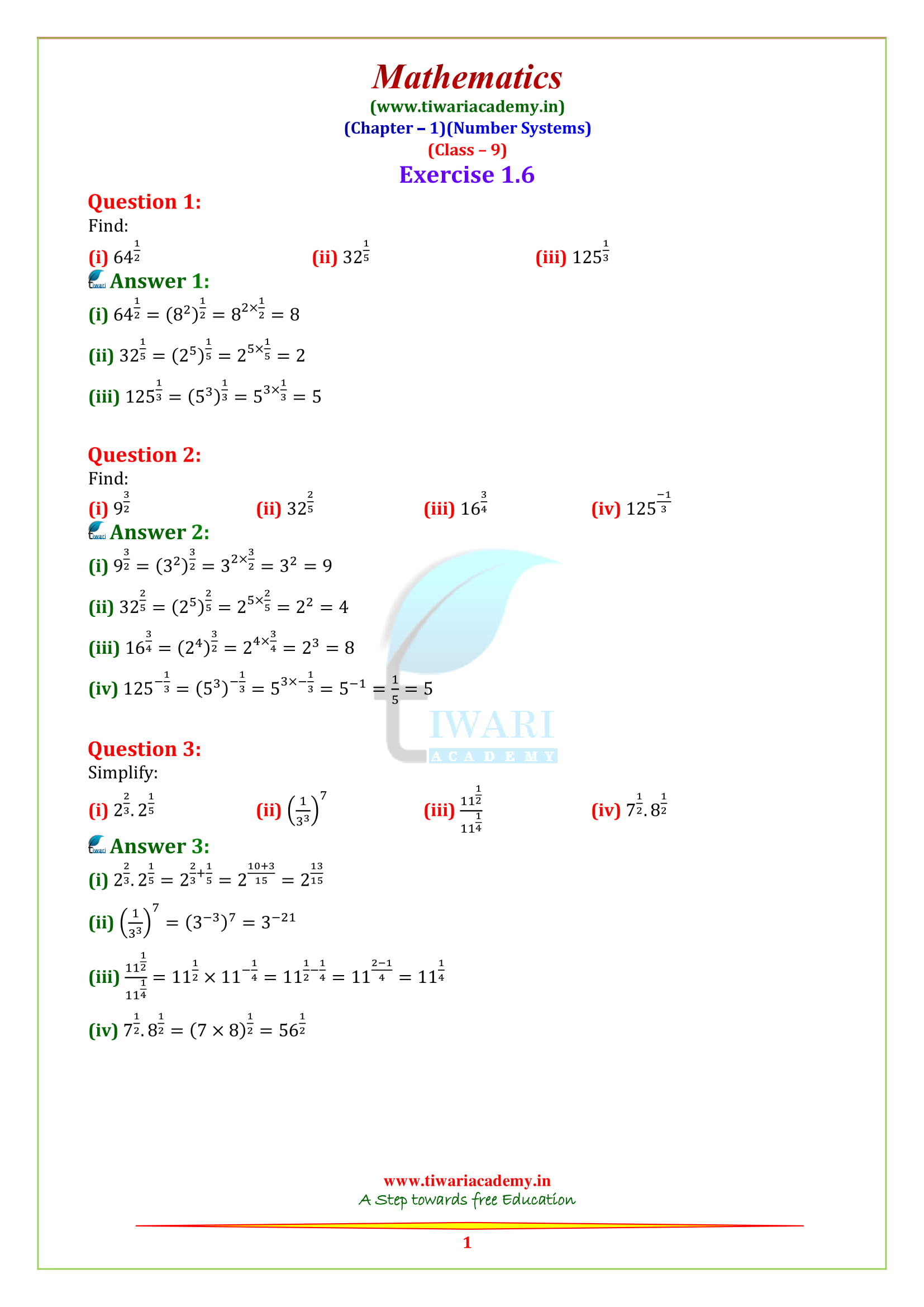 NCERT Solutions for Class 9 Maths Chapter 1 Exercise 1.6