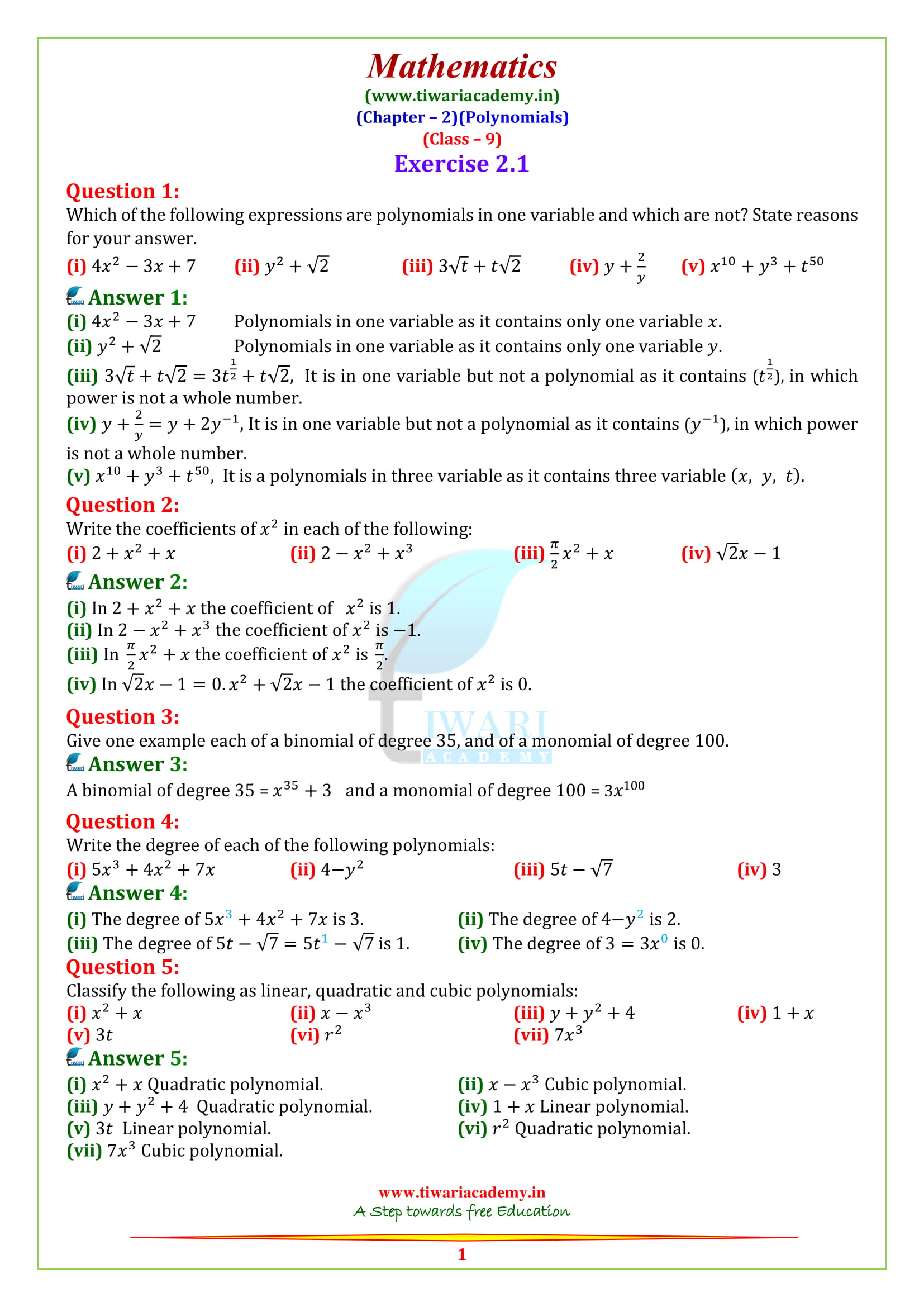 NCERT Solutions for class 9 Maths Chapter 2 Exercise 2.1