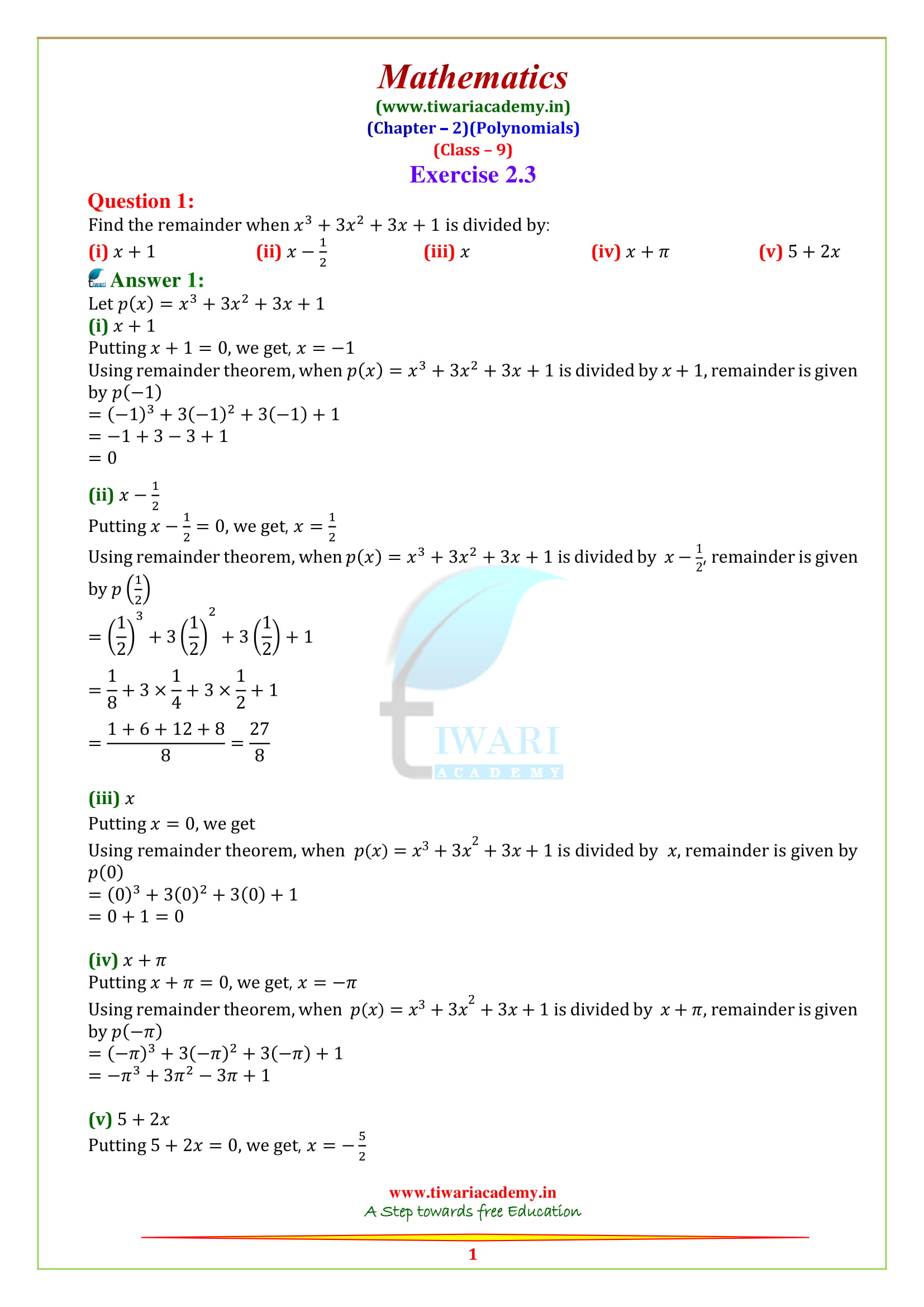 NCERT Solutions for class 9 Maths Chapter 2 Exercise 2.3