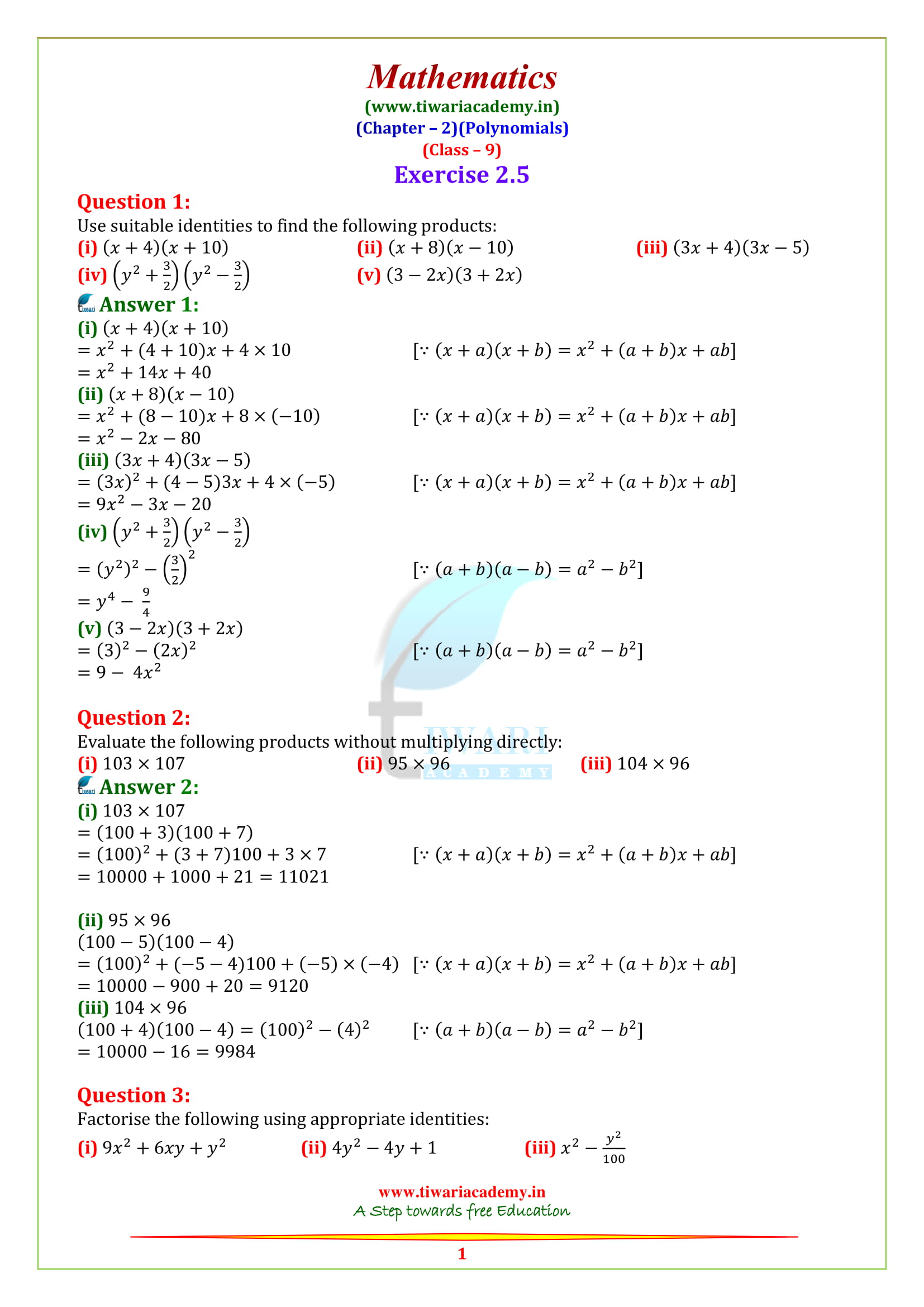 NCERT Solutions for Class 9 Maths Chapter 2 Polynomials in PDF
