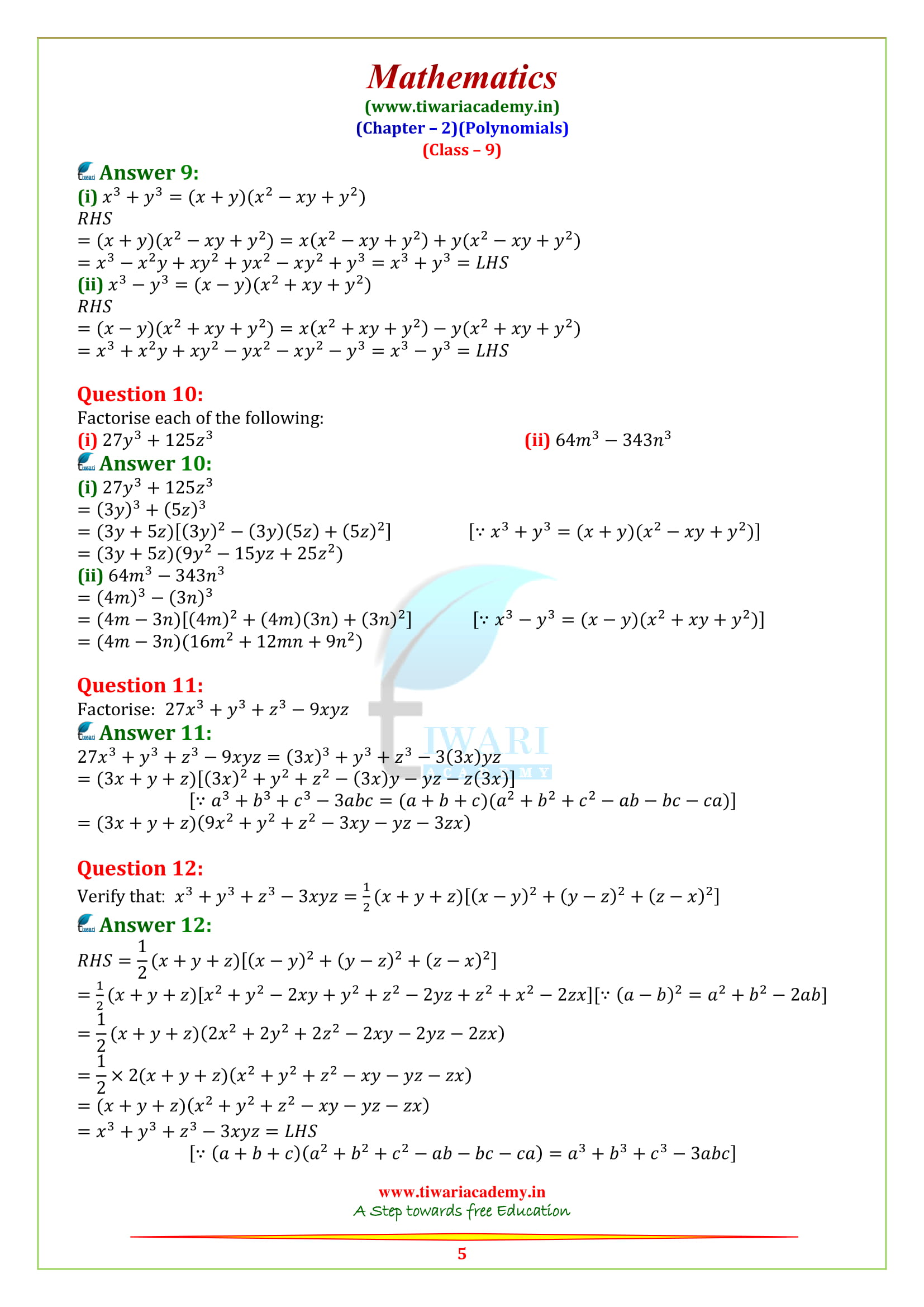 NCERT Solutions for class 9 Maths Chapter 2 Exercise 2.5 online answers