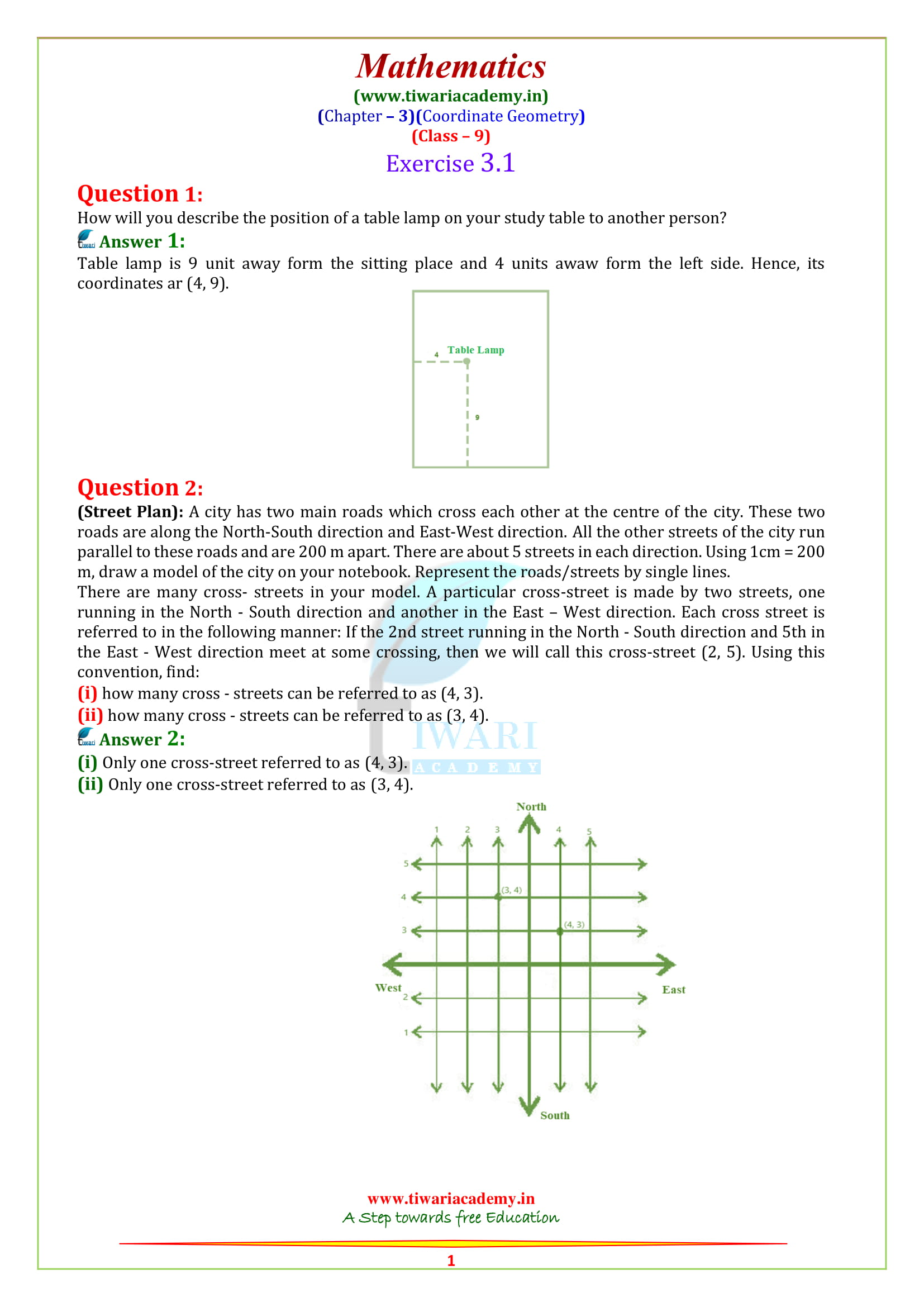 9 Maths Exercise 3.1 solutions in english medium
