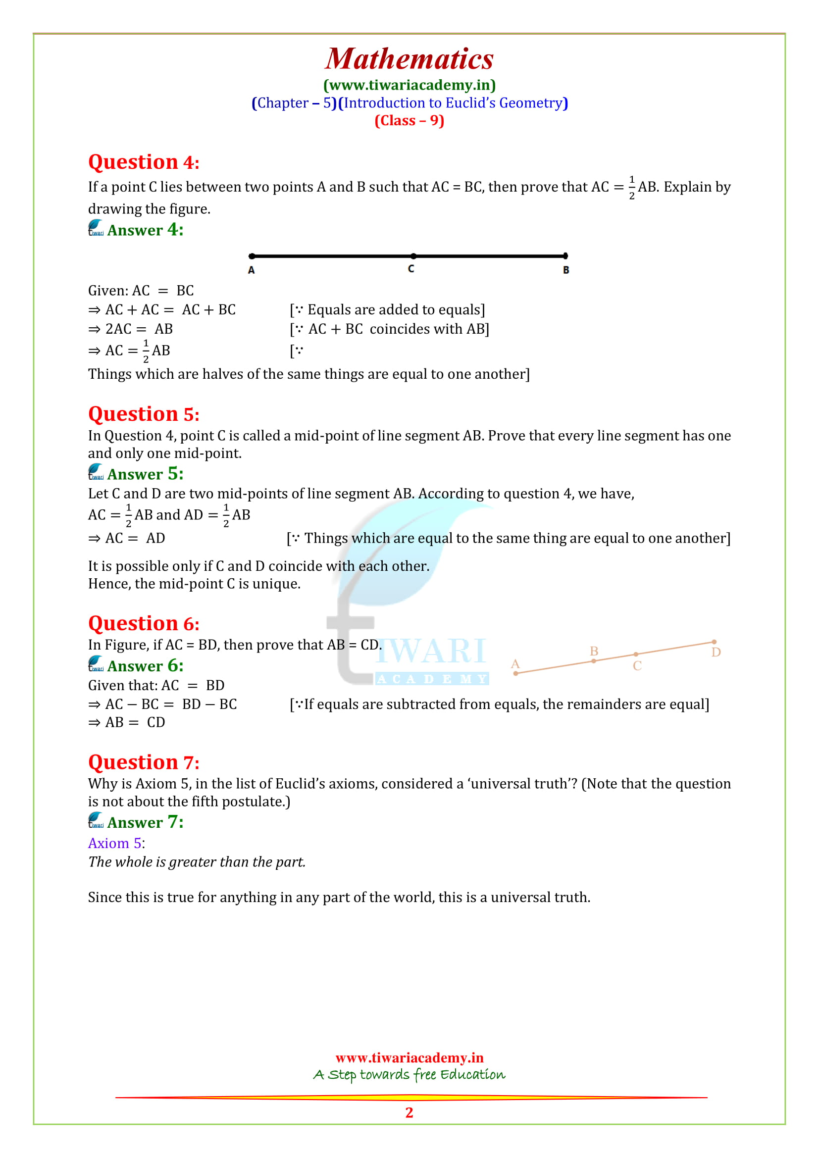 NCERT Solutions for class 9 Maths Chapter 5 Exercise 5.1 all questions