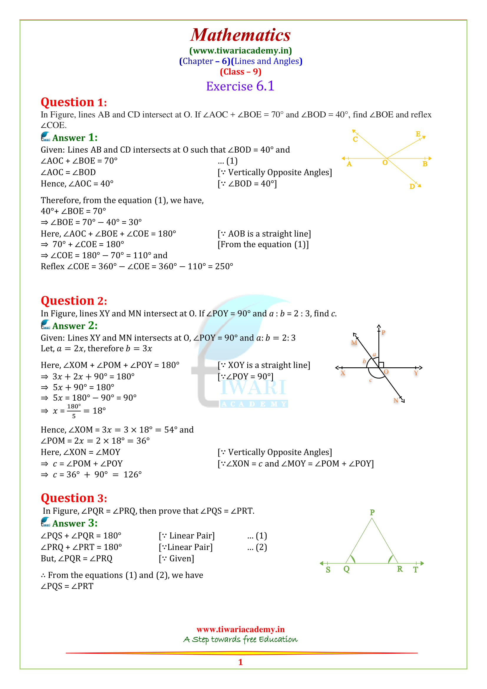 NCERT Solutions for class 9 Maths Chapter 6 Exercise 6.1 in english medium