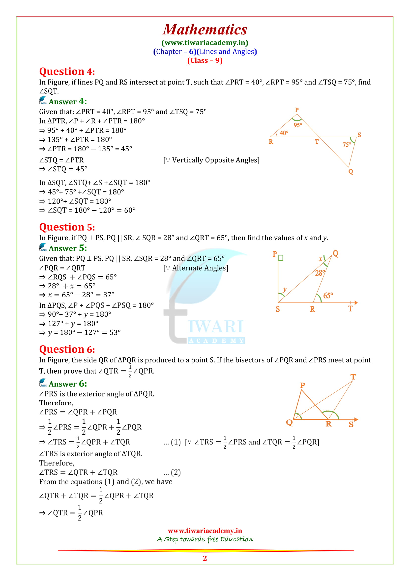 NCERT Solutions for class 9 Maths Chapter 6 Exercise 6.3 in english medium pdf