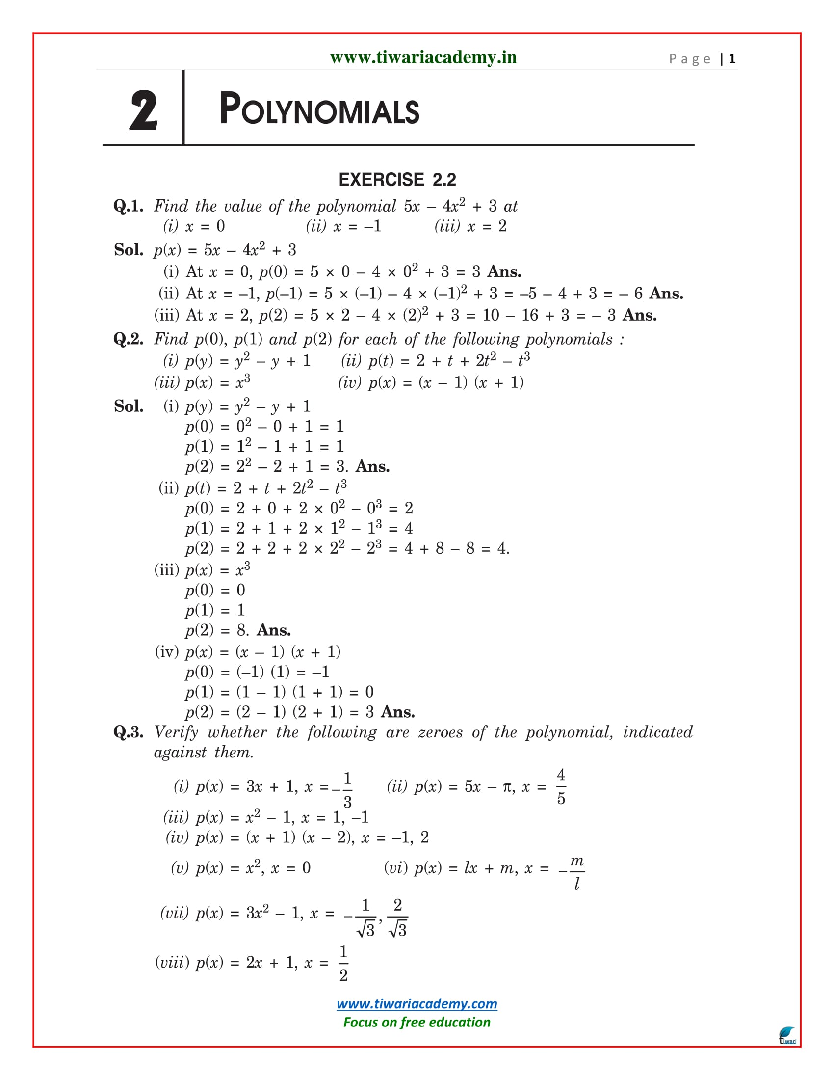 Premise Indicator Words: NCERT Solutions For Class 9 Maths Chapter 2 Polynomials In PDF
