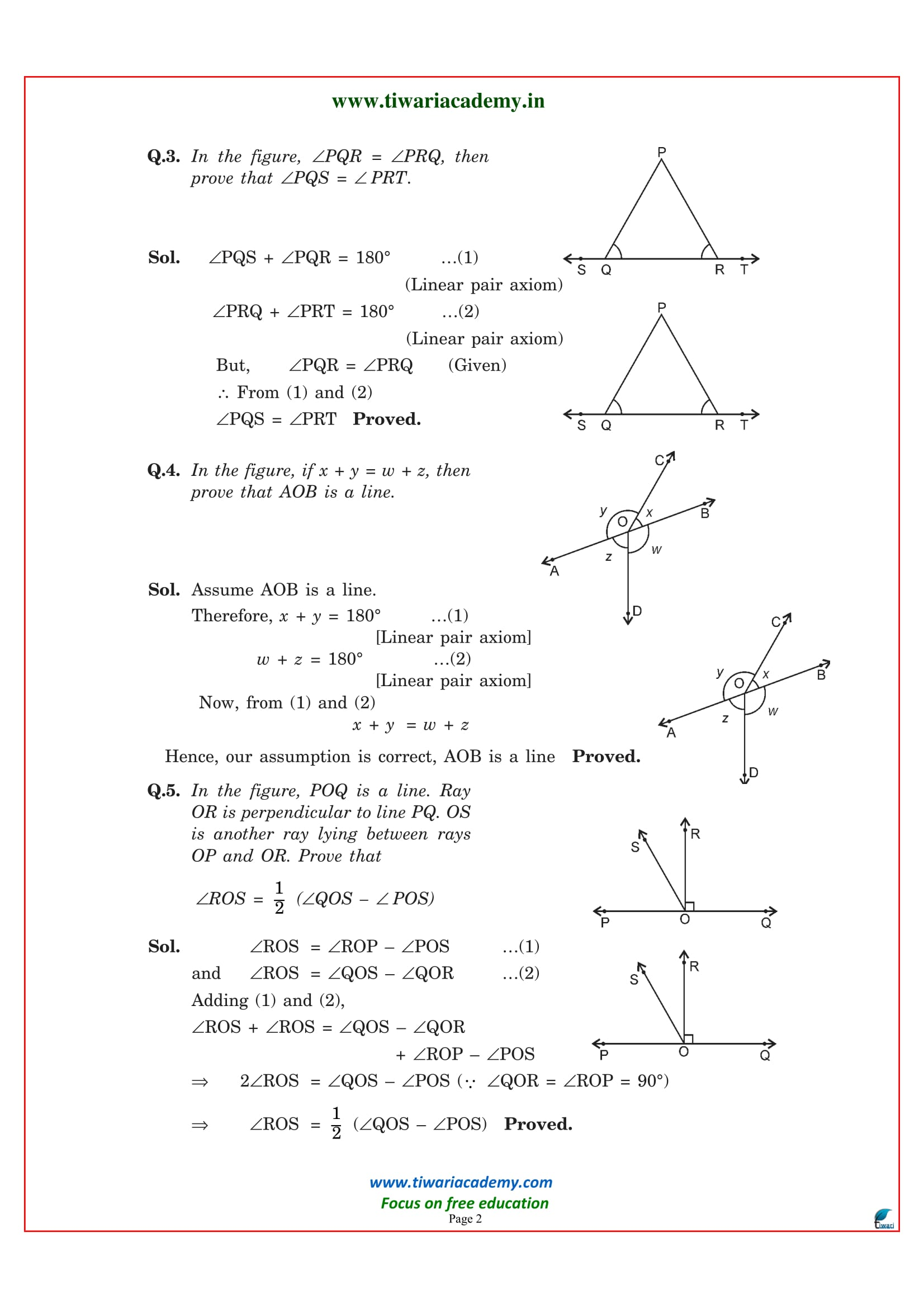 Class 9 maths exercise 6.1 solutions