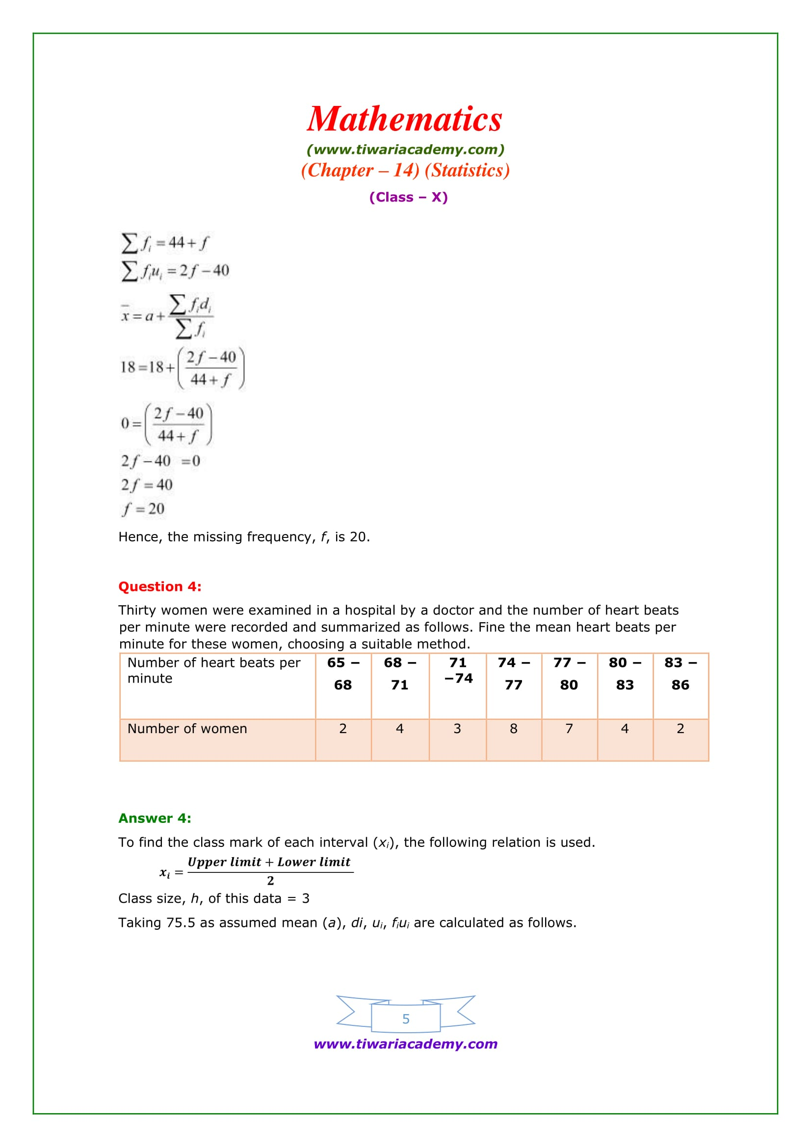 NCERT Solutions for Class 10 Maths Chapter 14 Exercise 14.1 Question 4