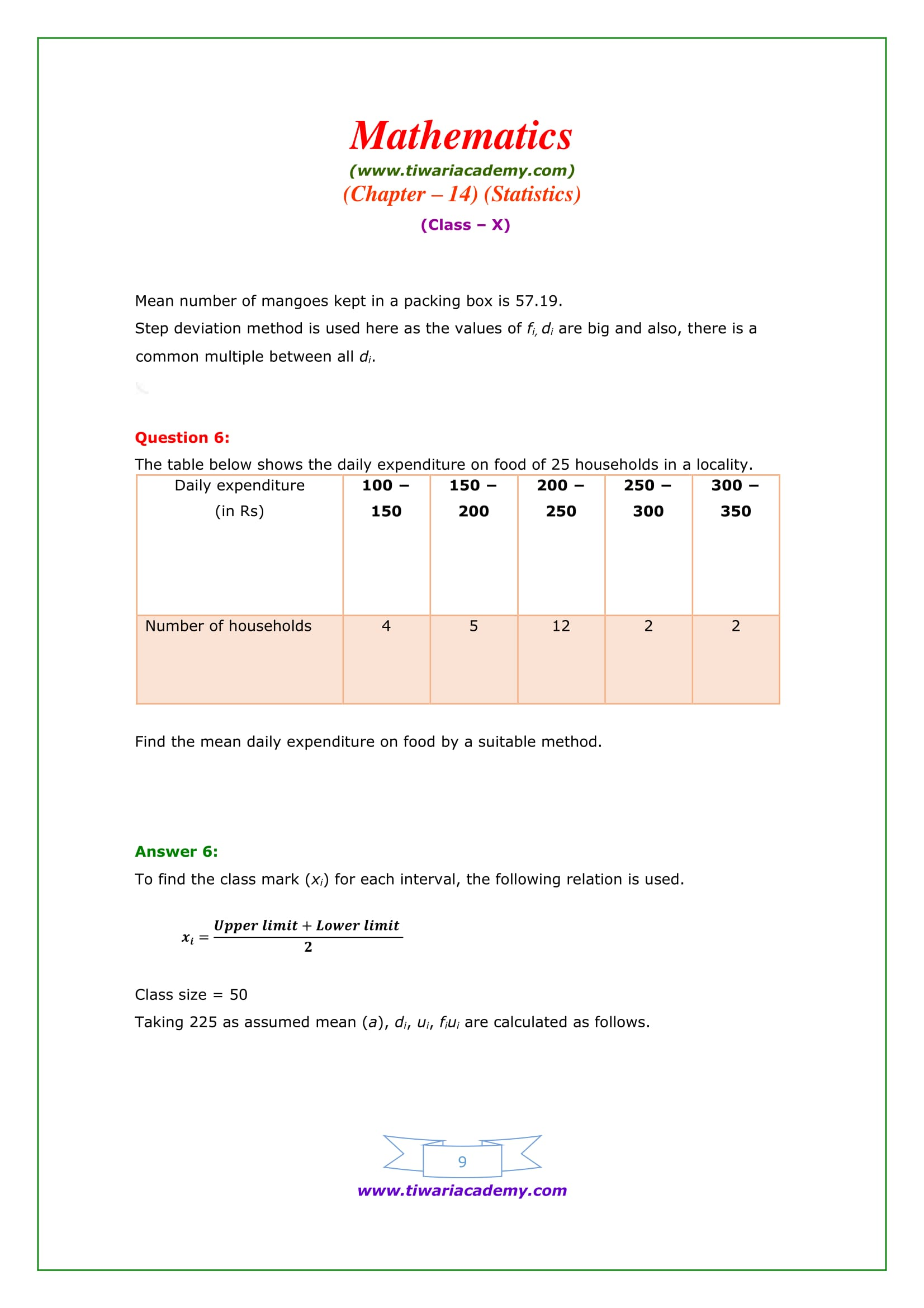 NCERT Solutions for Class 10 Maths Chapter 14 Exercise 14.1 Question 6