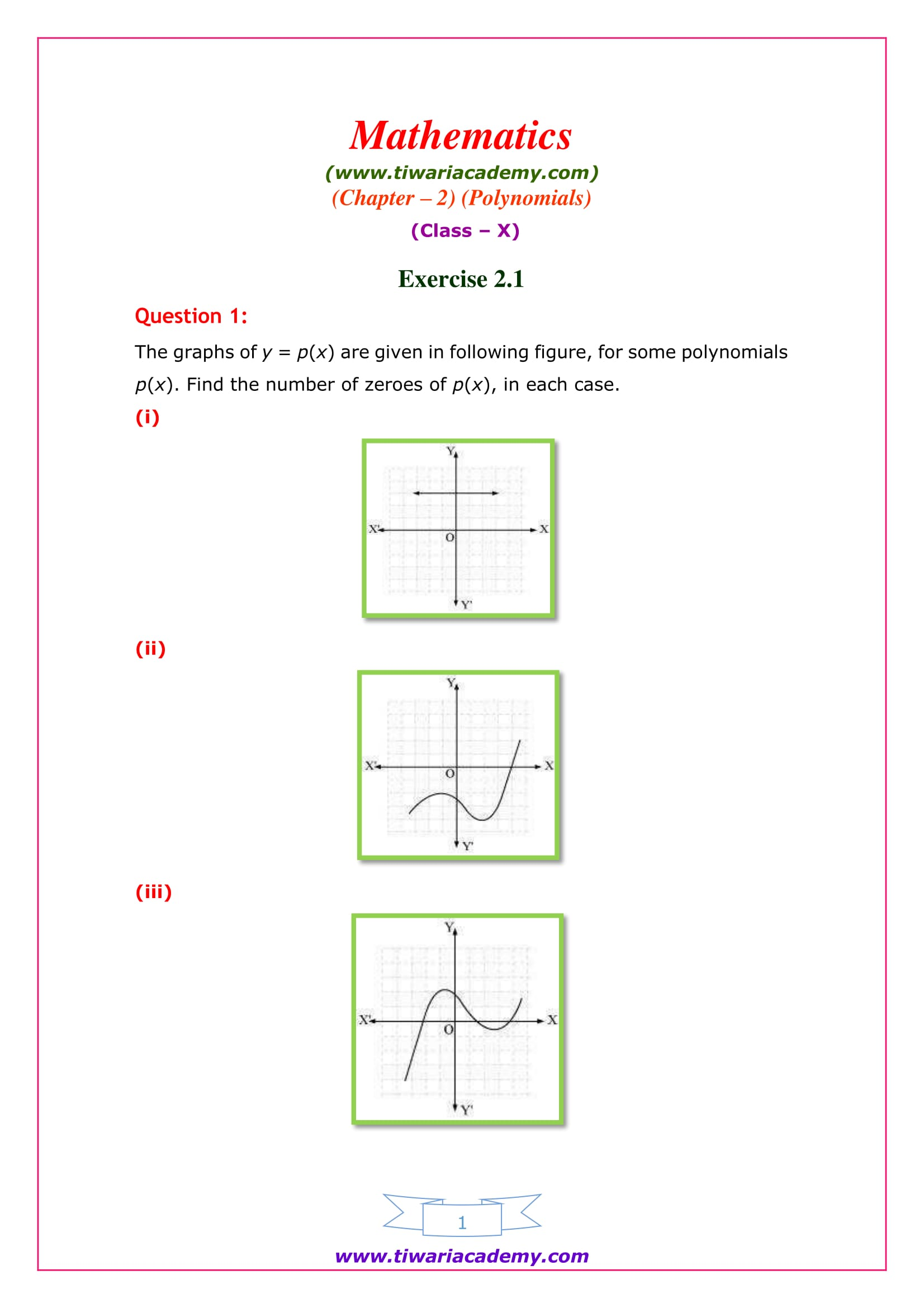 NCERT Solutions for Class 10 Maths Chapter 2 Exercise 2.1 Question 1 part i, ii, ii