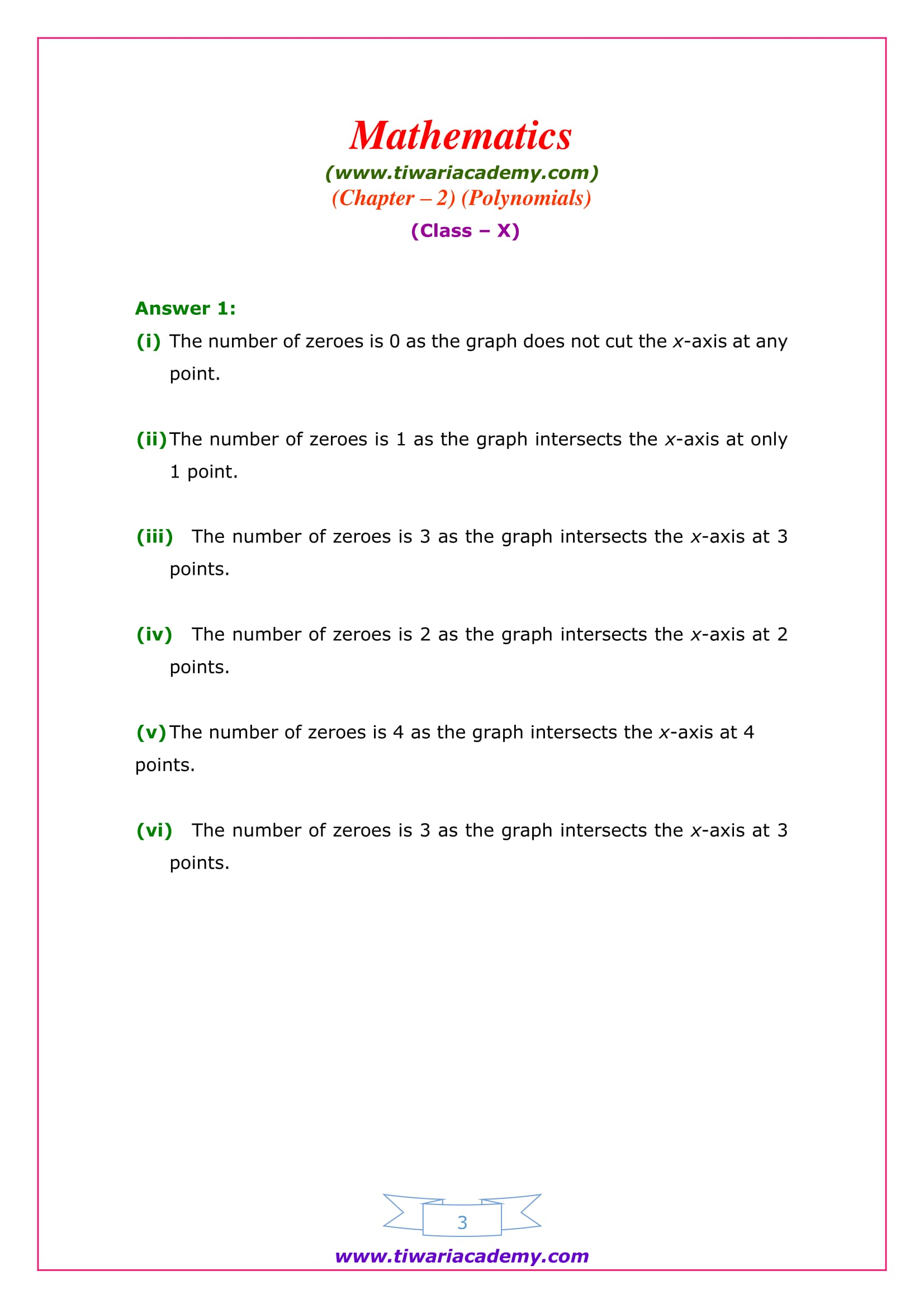 NCERT Solutions for Class 10 Maths Chapter 2 Exercise 2.1 Polynomials