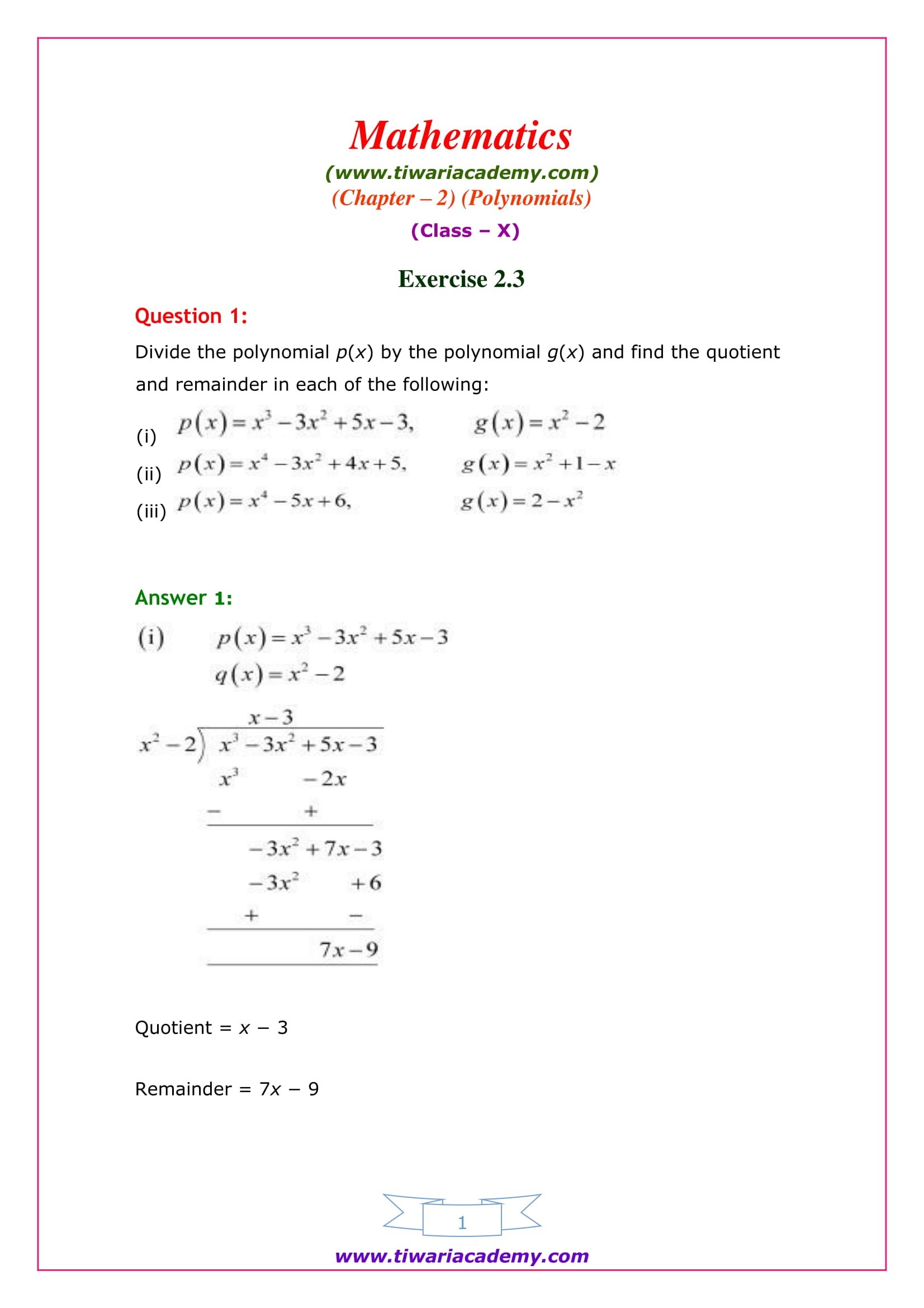 NCERT Solutions for Class 10 Maths Chapter 2 Exercise 2.3 Online View
