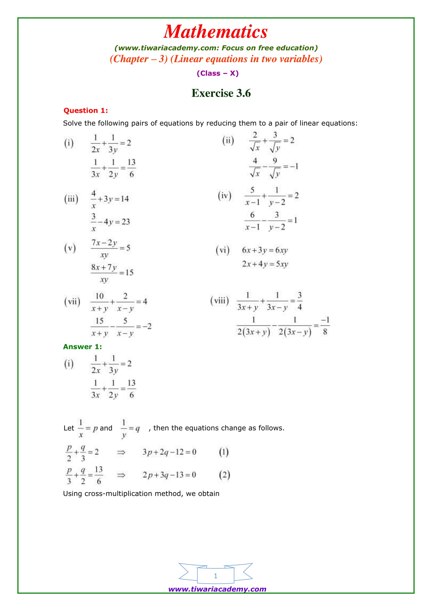Ncert solutions for class 10 maths chapter 3 exercise 36 online ncert solutions for class 10 maths chapter 3 exercise 36 malvernweather Gallery