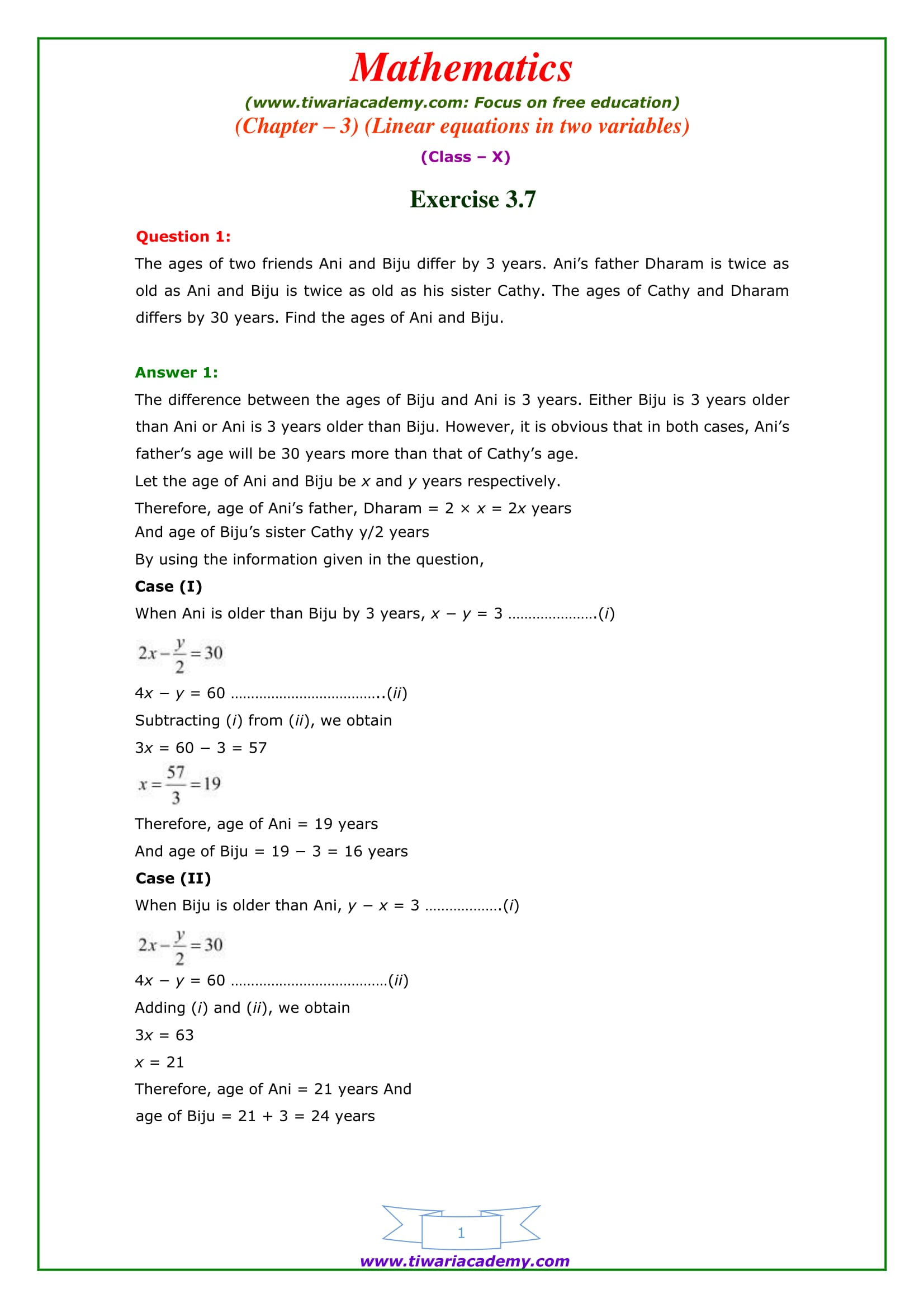 NCERT Solutions for Class 10 Maths Chapter 3 Exercise 3.7 Optional