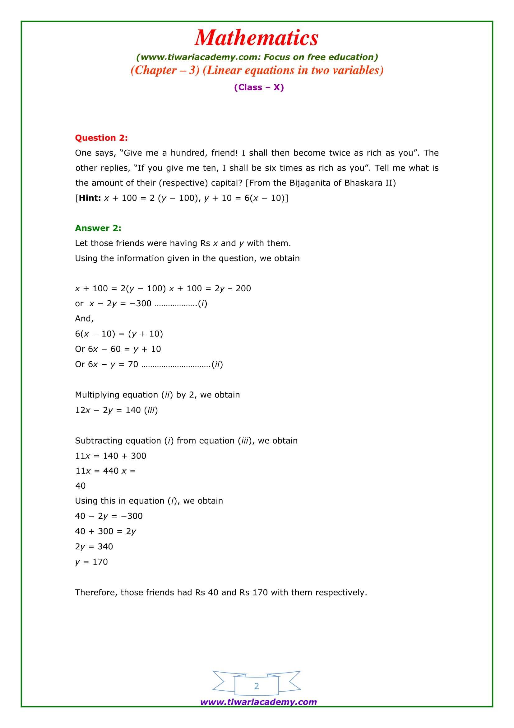 Premise Indicator Words: NCERT Solutions For Class 10 Maths Chapter 3 Exercise 3.7