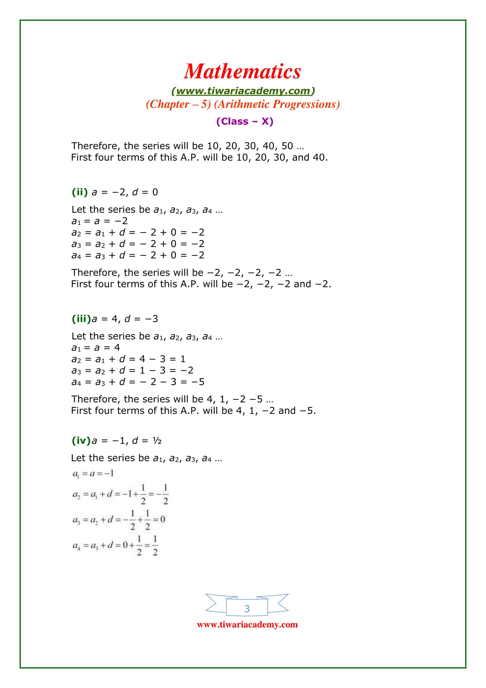 chapter 5 exercises Free pdf download of ncert solutions for class 10 maths chapter 5  all  arithmetic progressions exercise questions with solutions to help you to revise.